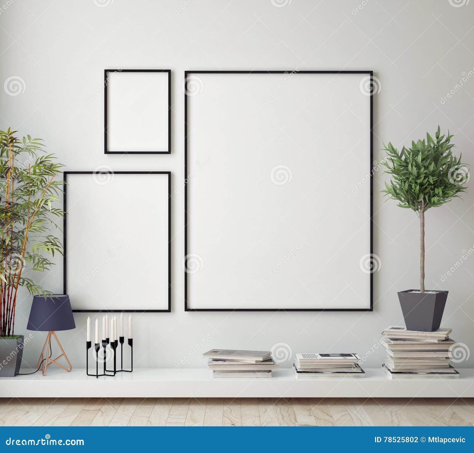 Egzamin próbny w górę plakat ramy w modnisia pokoju, scandinavian stylowy wewnętrzny tło,