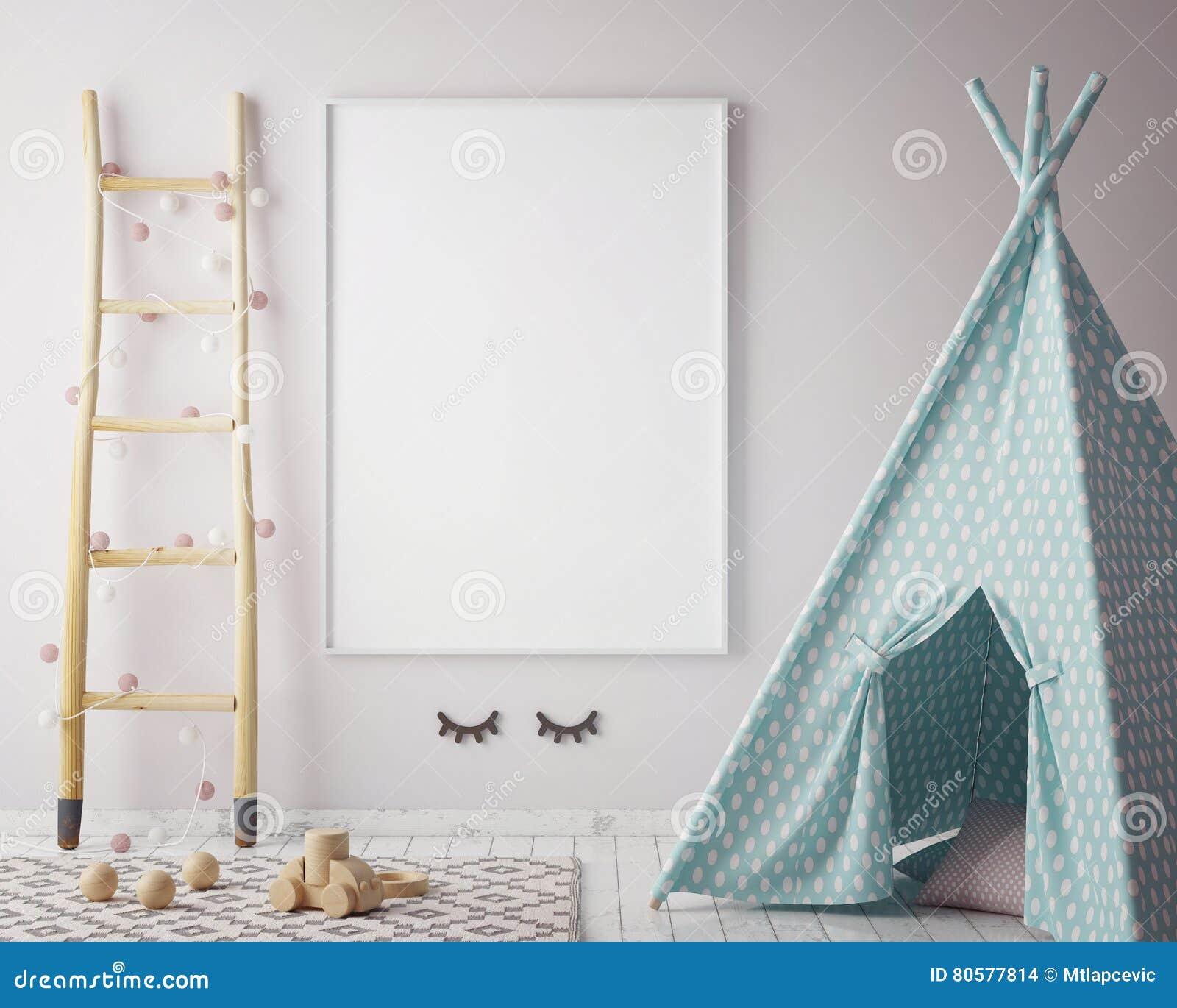 Egzamin próbny w górę plakat ramy w modnisia pokoju, scandinavian stylowy wewnętrzny tło, 3D odpłaca się