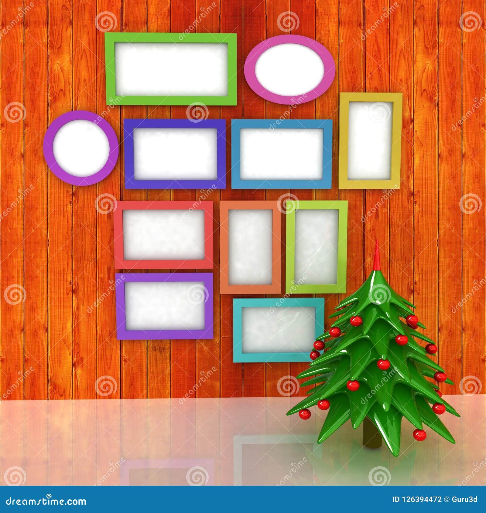 Egzamin próbny w górę plakata na drewnianej ścianie z choinką i decorati