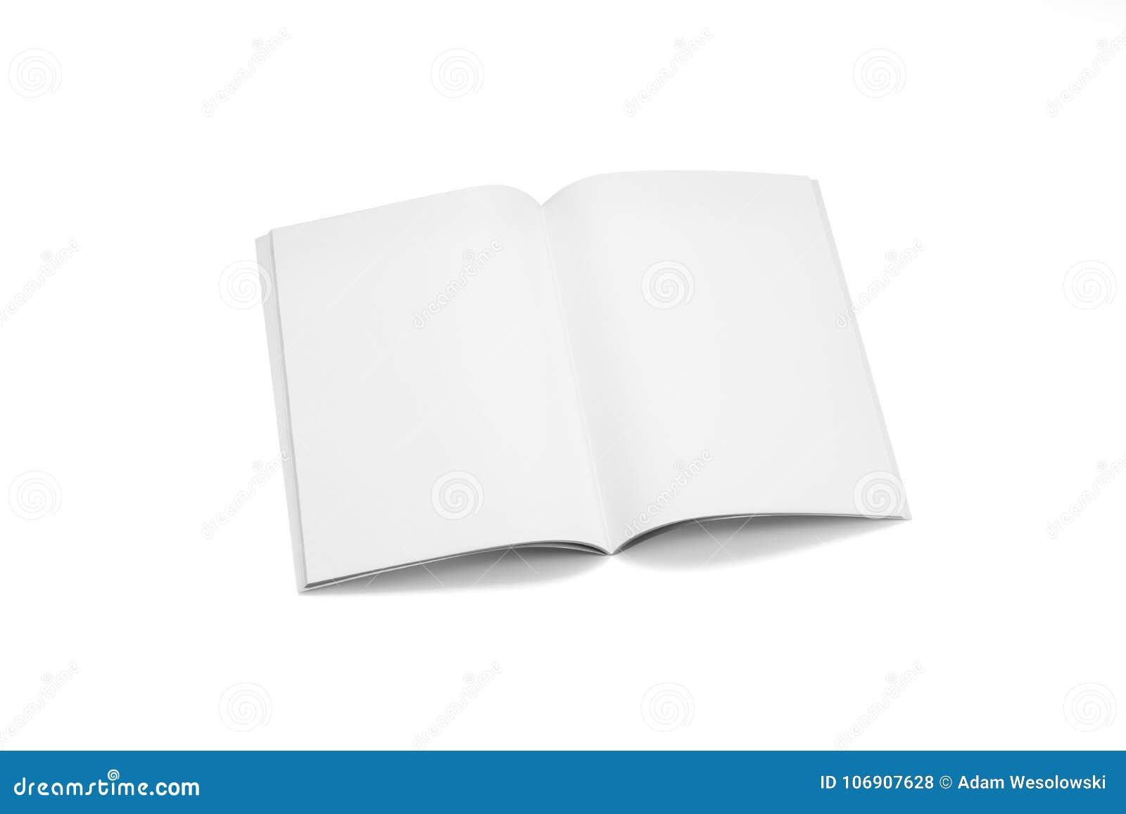 Egzaminu próbnego magazyny, książka lub katalog na bielu stołu tle,