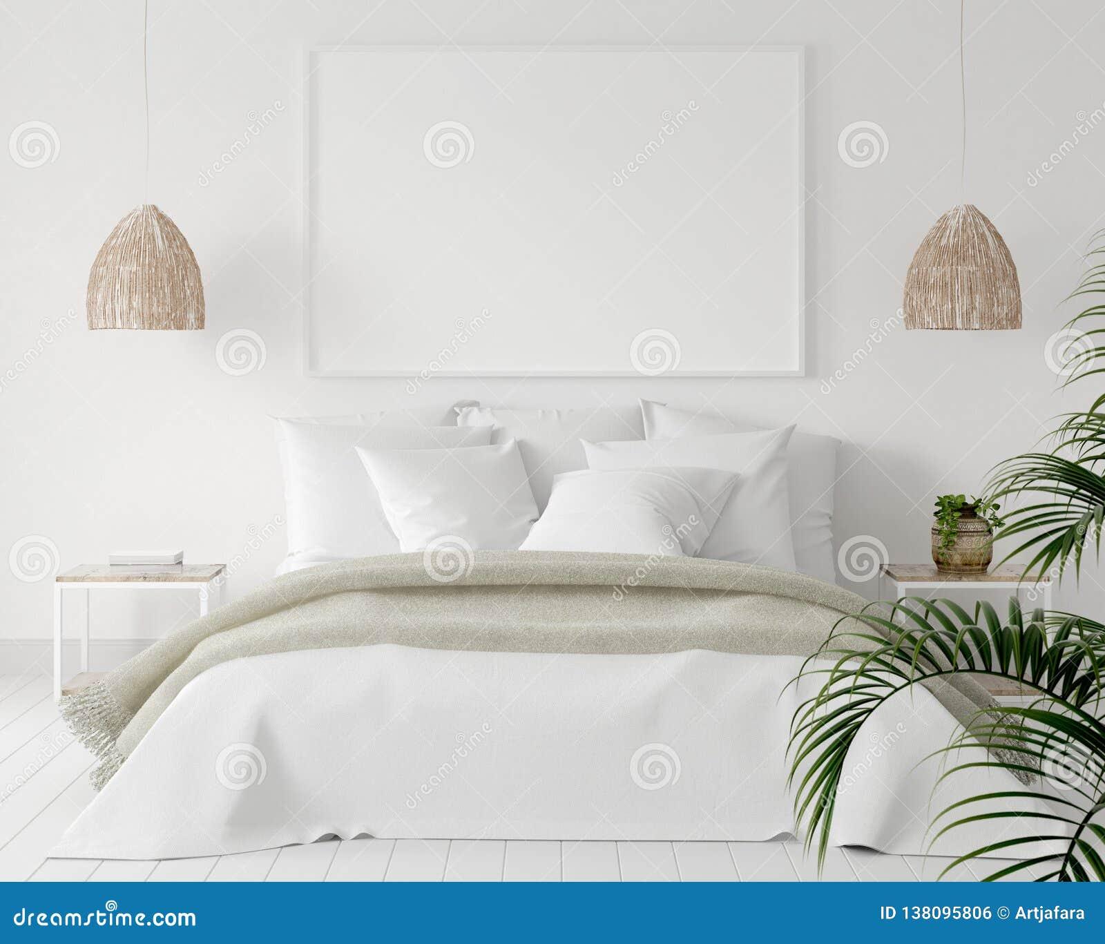 Egzaminu próbnego plakata rama w sypialni, skandynawa styl