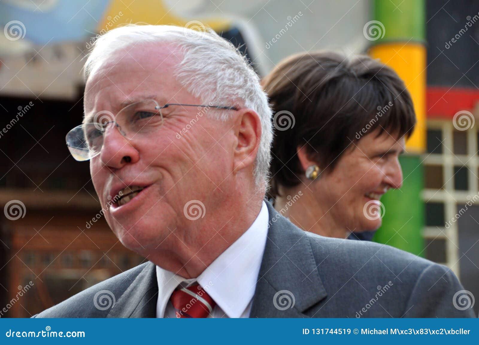 Ehemaliger Schweizer Bundesgouverneur und Kanzler Christoph Blocher an der Schweizer Nationalmuseum Einweihung der neuen Ausstell