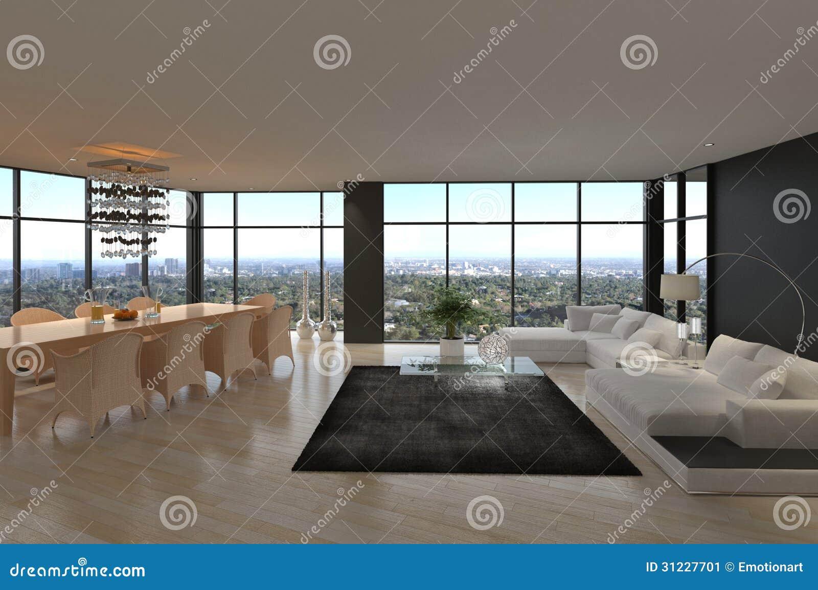 Ehrfürchtiges Modernes Dachboden-Wohnzimmer | Architektur-Innenraum ...