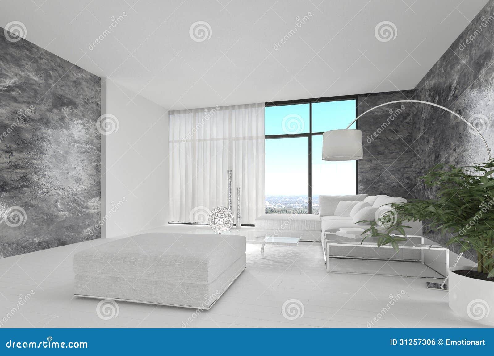 Ehrfürchtiges Reinweiß-Dachboden-Wohnzimmer | Architektur-Innenraum ...