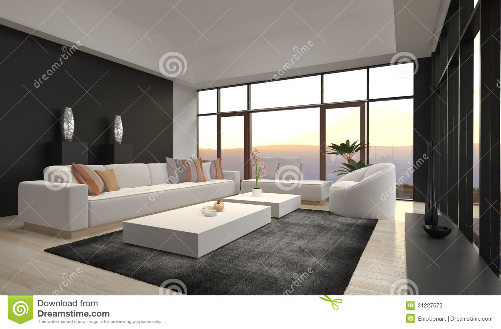 Eine wiedergabe 3d des ehrfürchtigen modernen dachboden wohnzimmers