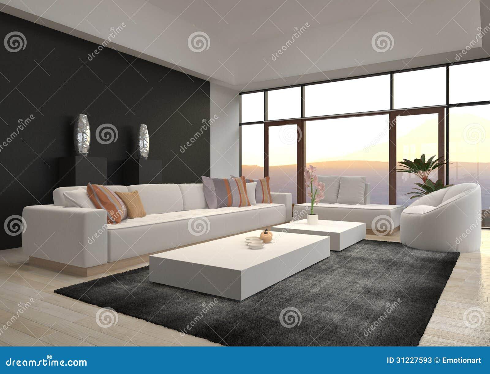Eine Wiedergabe 3d des ehrfürchtigen modernen DachbodenWohnzimmers