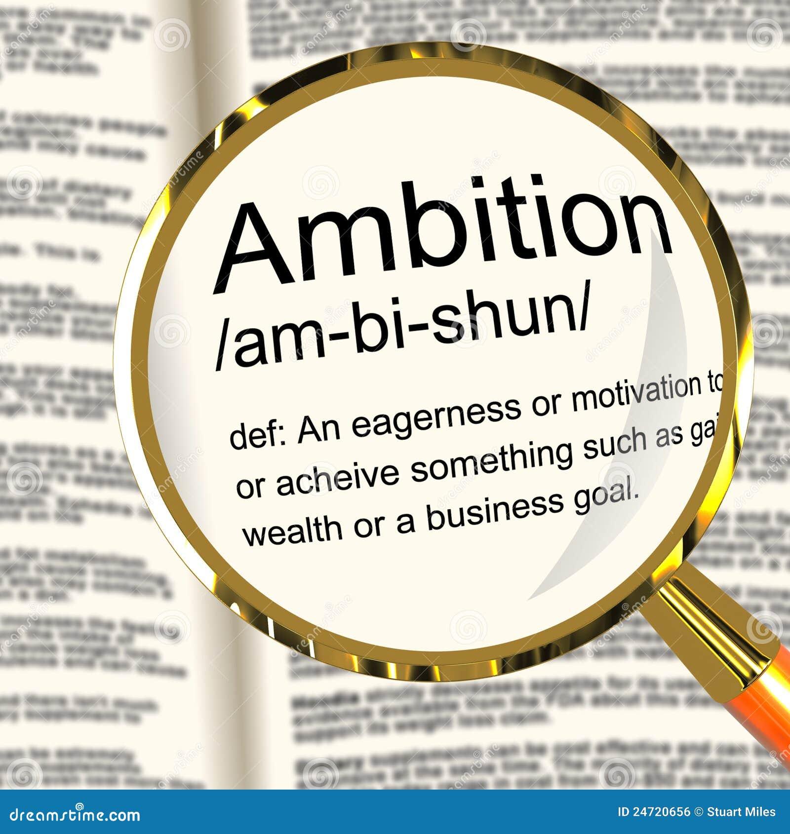 Ehrgeiz-Definitions-Vergrößerungsglas, das Aspirations-Motivation zeigt und