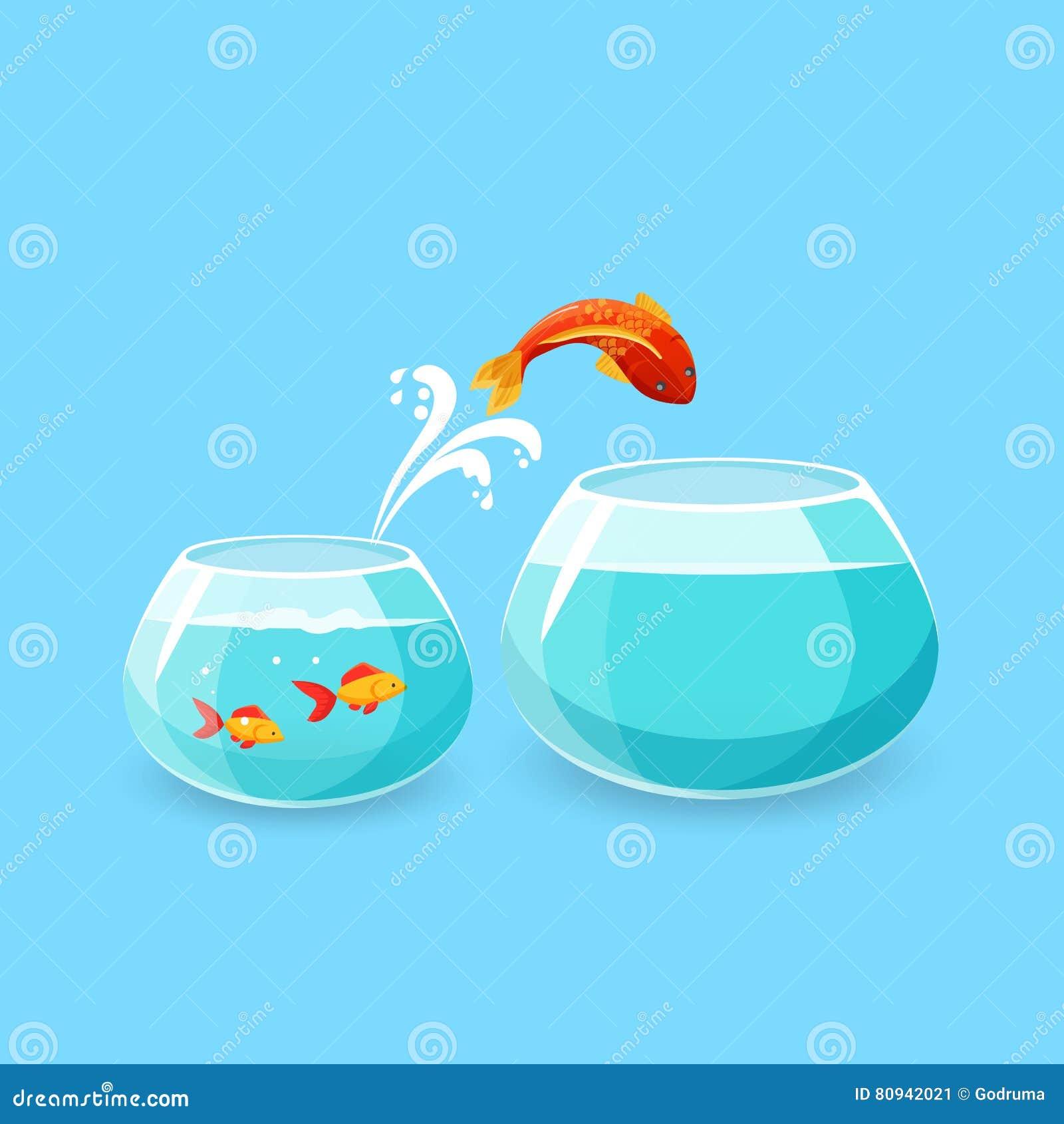Ehrgeiz-und Herausforderungs-Konzept Goldfisch-Entweichen