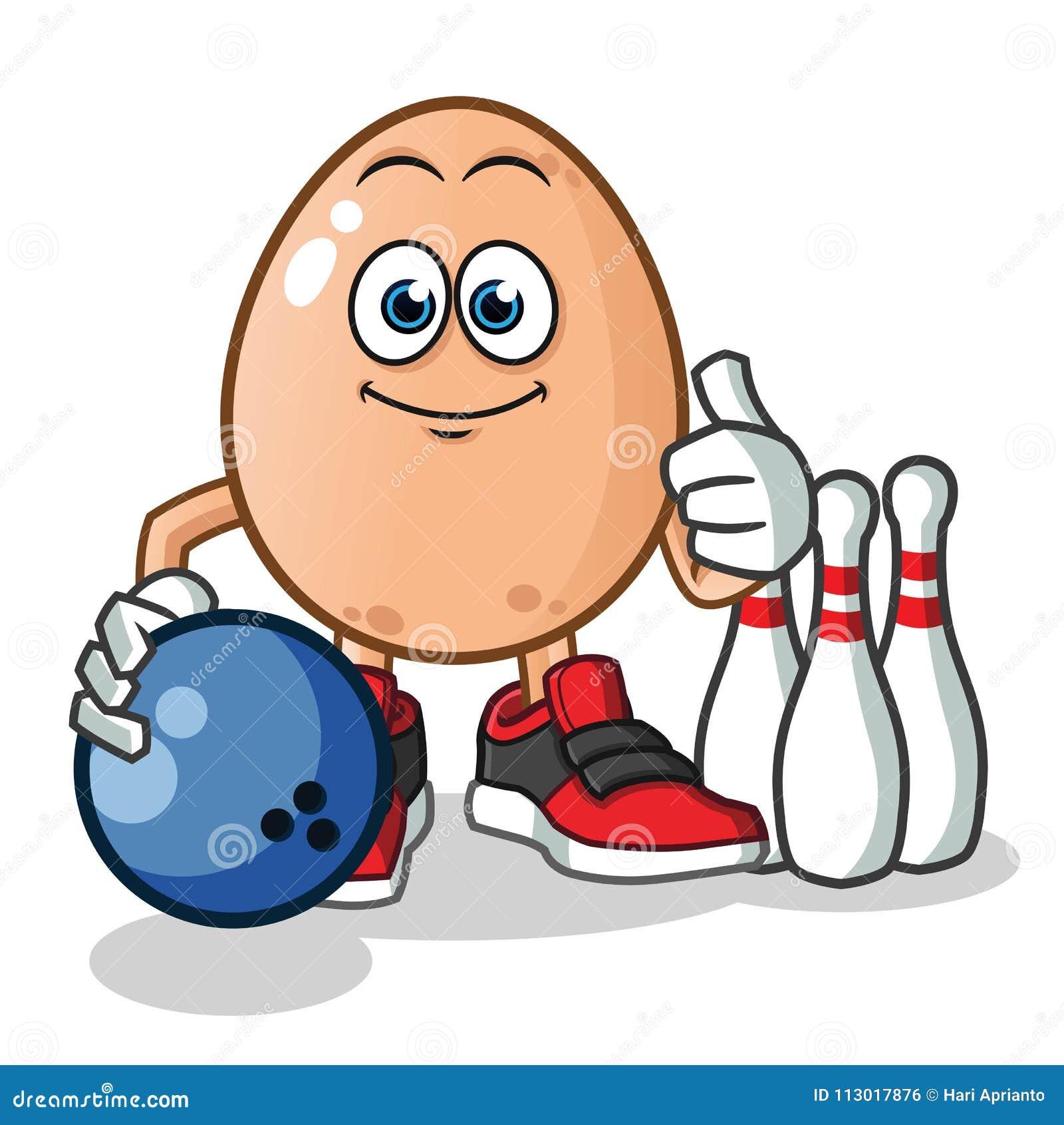 Ei, das Bowlingspielmaskottchenvektor-Karikaturillustration spielt