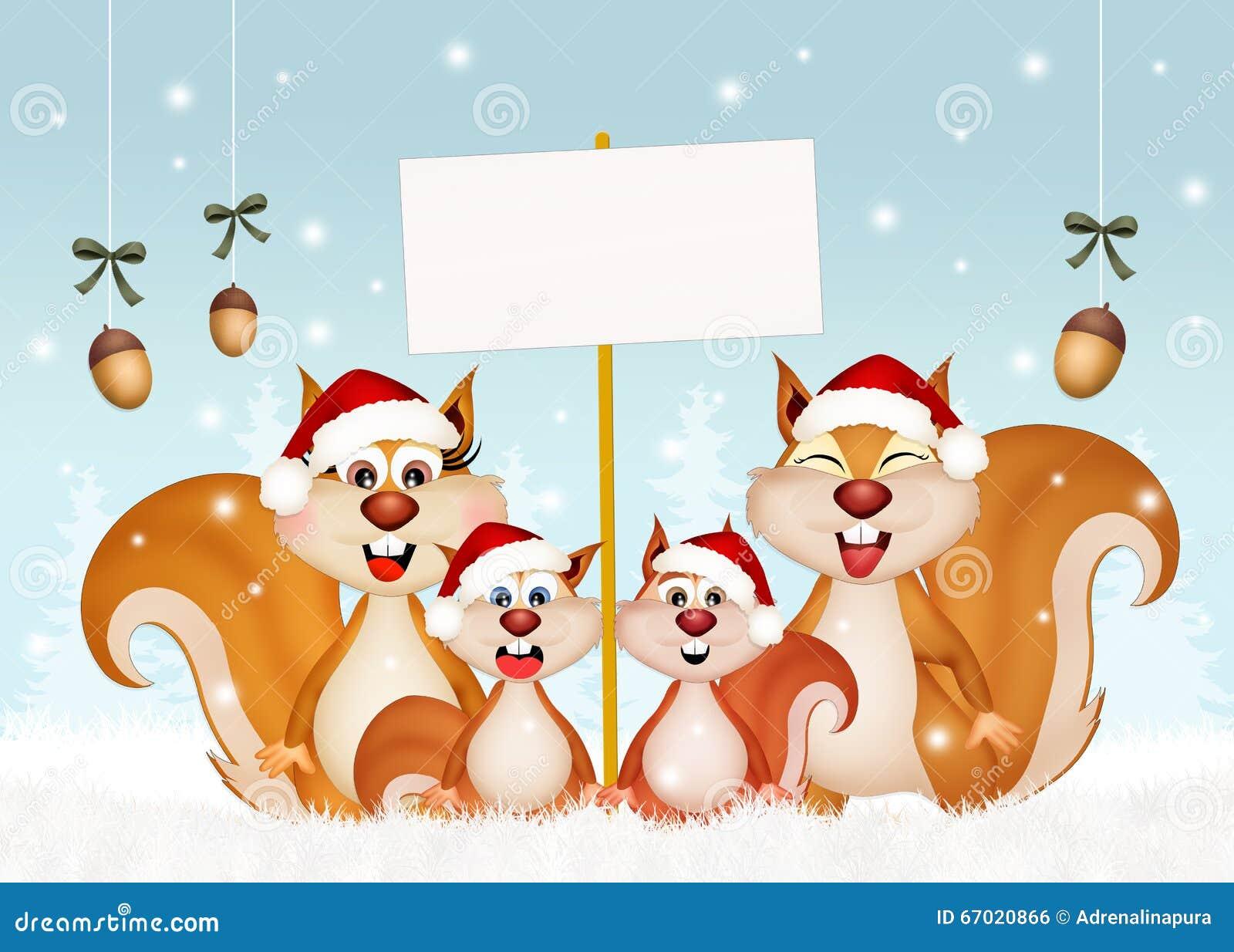 Eichhörnchen Am Weihnachten Stock Abbildung - Illustration von nett ...