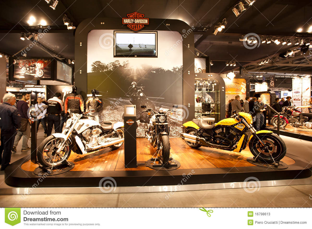 Exhibition Booth Vector Free Download : Eicma harley davidson editorial stock photo image