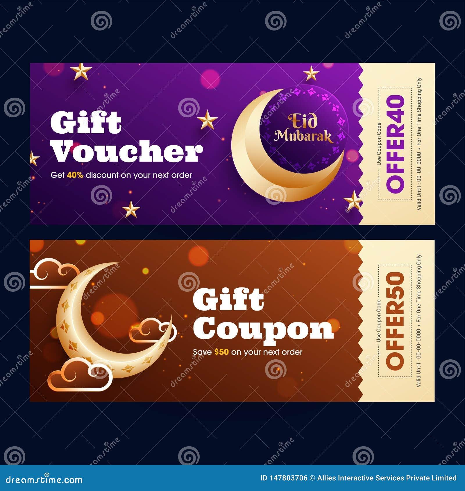 Eid穆巴拉克与最佳的提议和金黄新月形月亮的礼券或优惠券设计