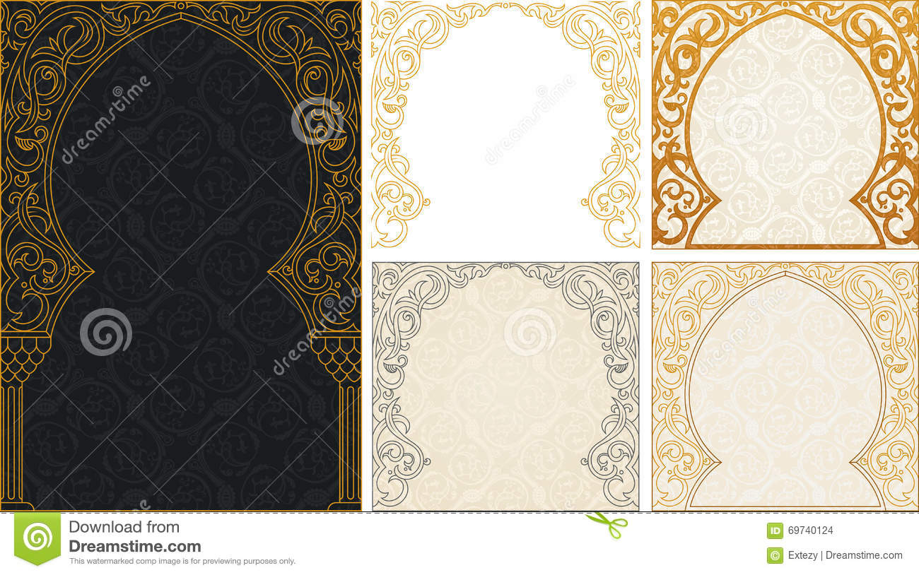 Eid Al Adha Greetings Backgrounds Set Stock Vector