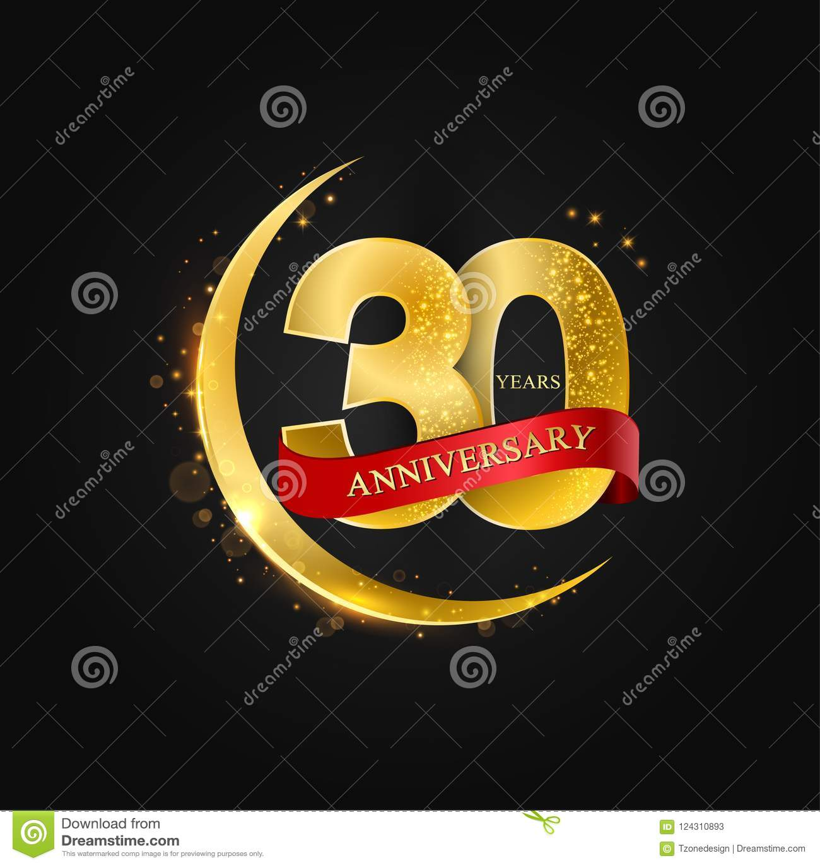 Eid al Adha 30 Jahre Jahrestag Muster mit arabischem Goldenem, Goldhalbmond und Funkeln