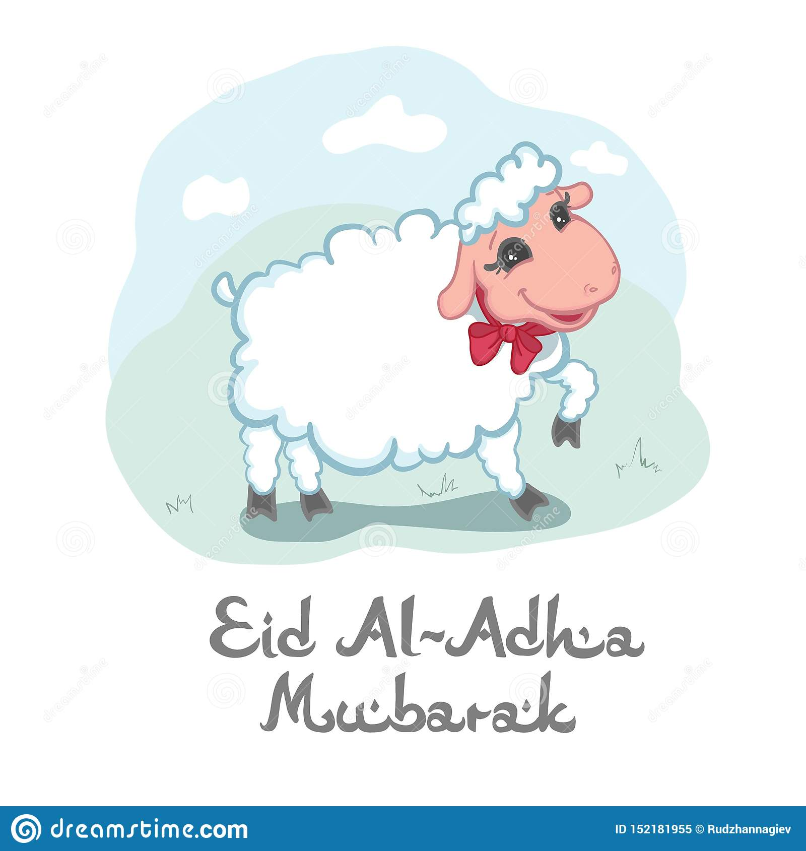 Eid Al-Adha Mubarak card design with cute little woolly white sacrificial lamb