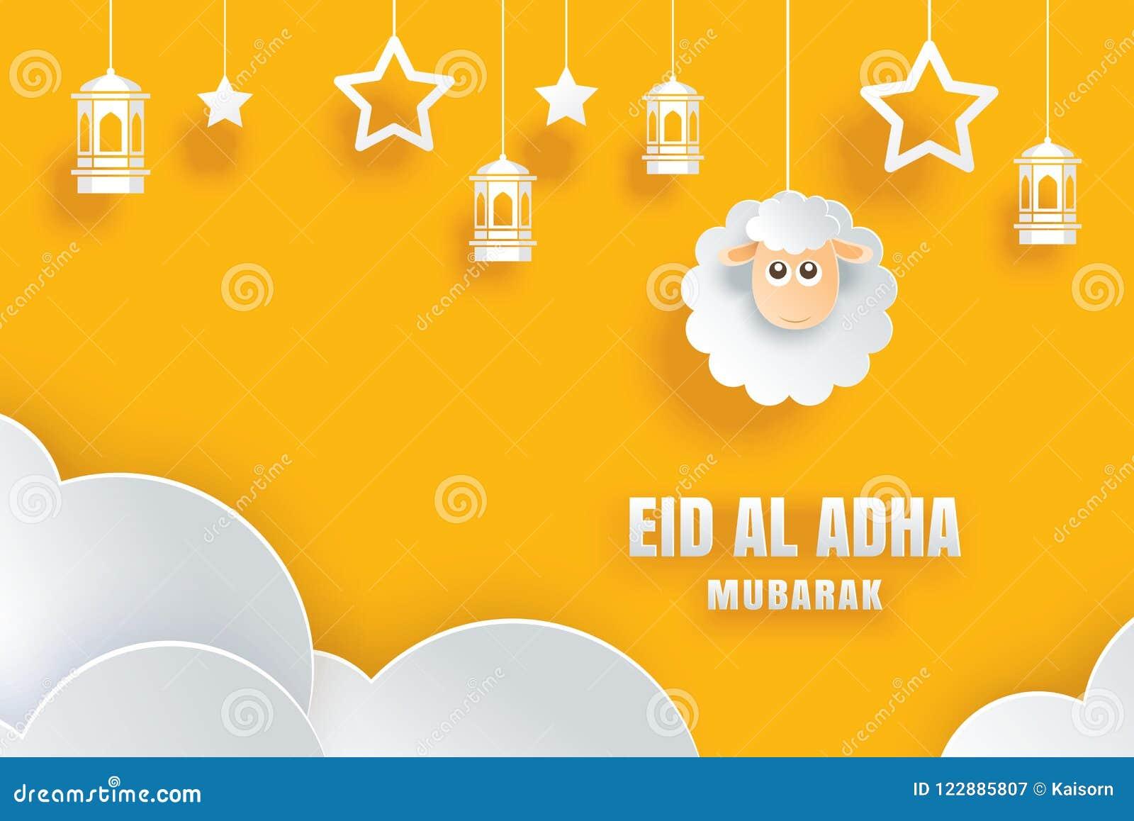 Eid Al Adha Mubarak Celebration Card With Sheep In Paper Art Yellow