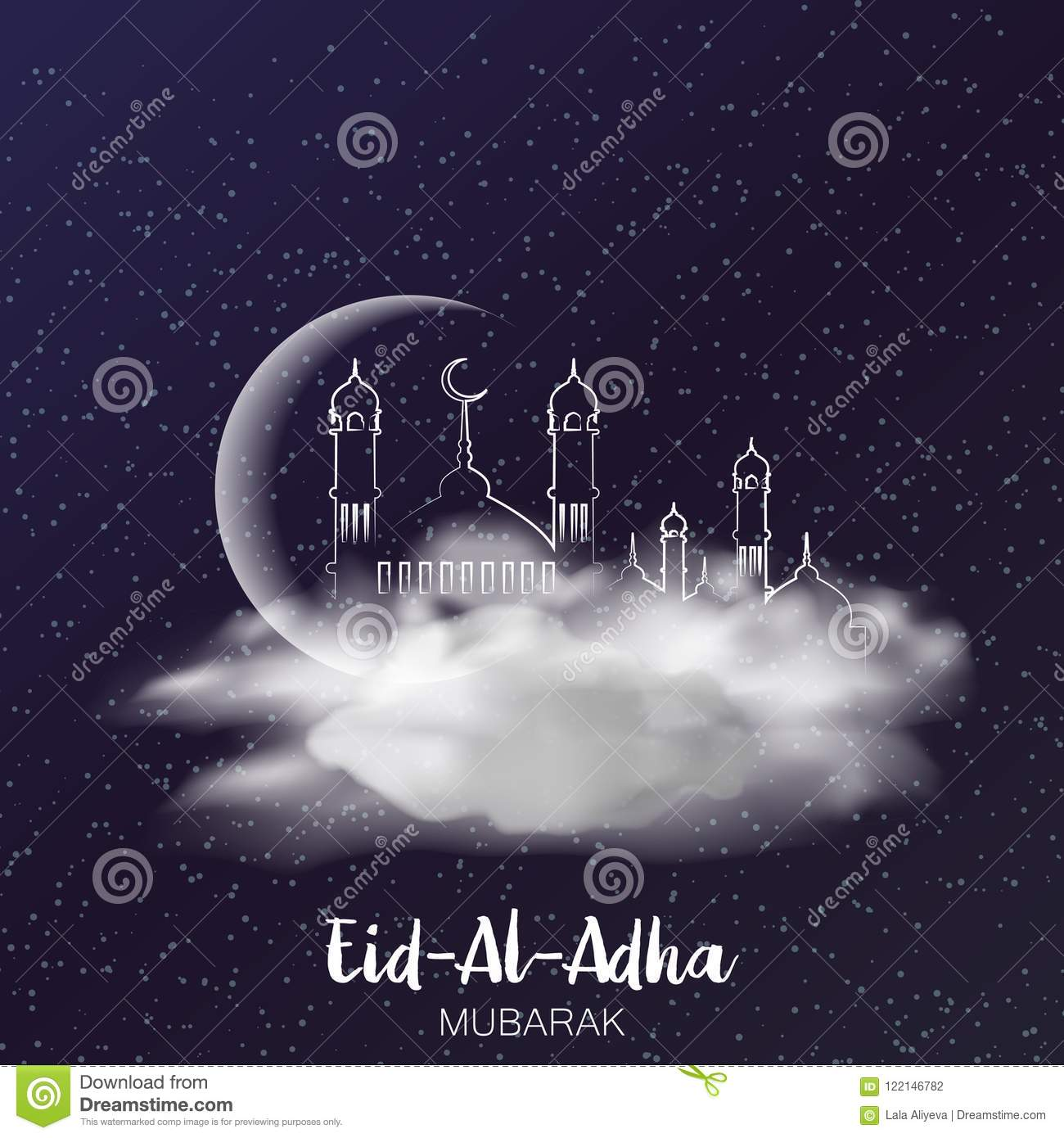 Eid Al Adha Mubarak Greeting Card With Crescent And Clouds In Sky