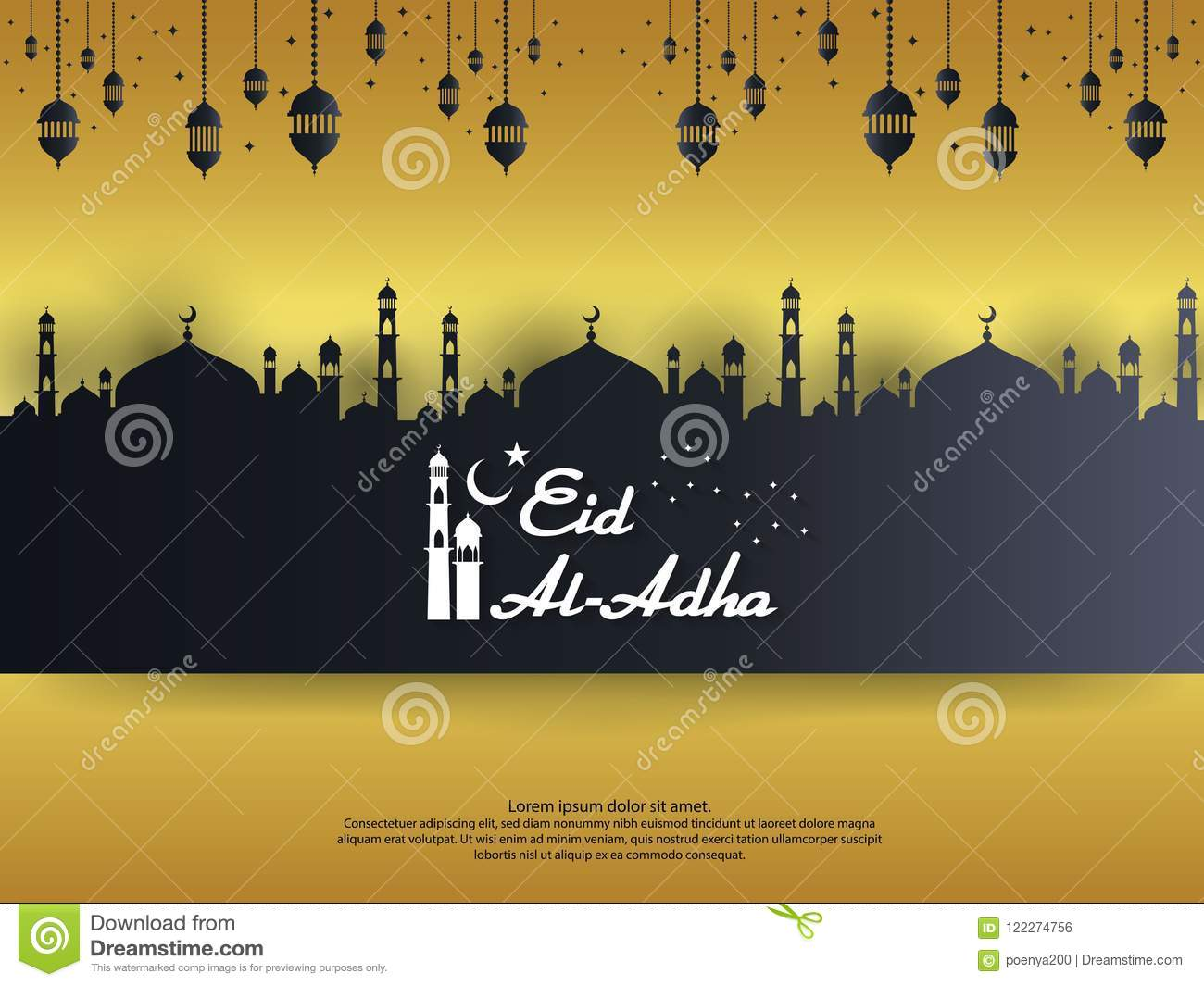 Eid al Adha Mubarak islamic greeting card design with dome mosque and hanging lantern element in paper cut style. background Vecto