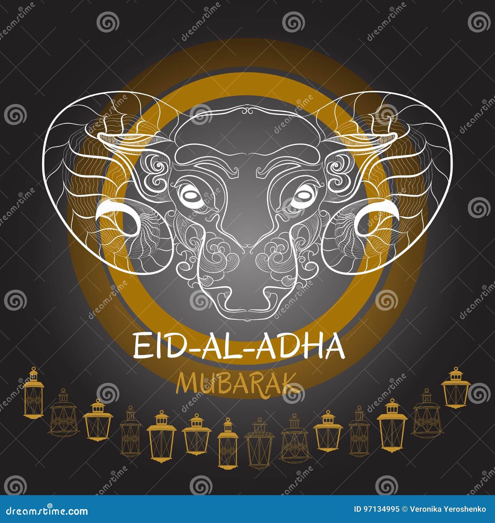 Eid-Al-Adha Mubarak. Vector Illustration Of Sheep And Lantern. Stock ...