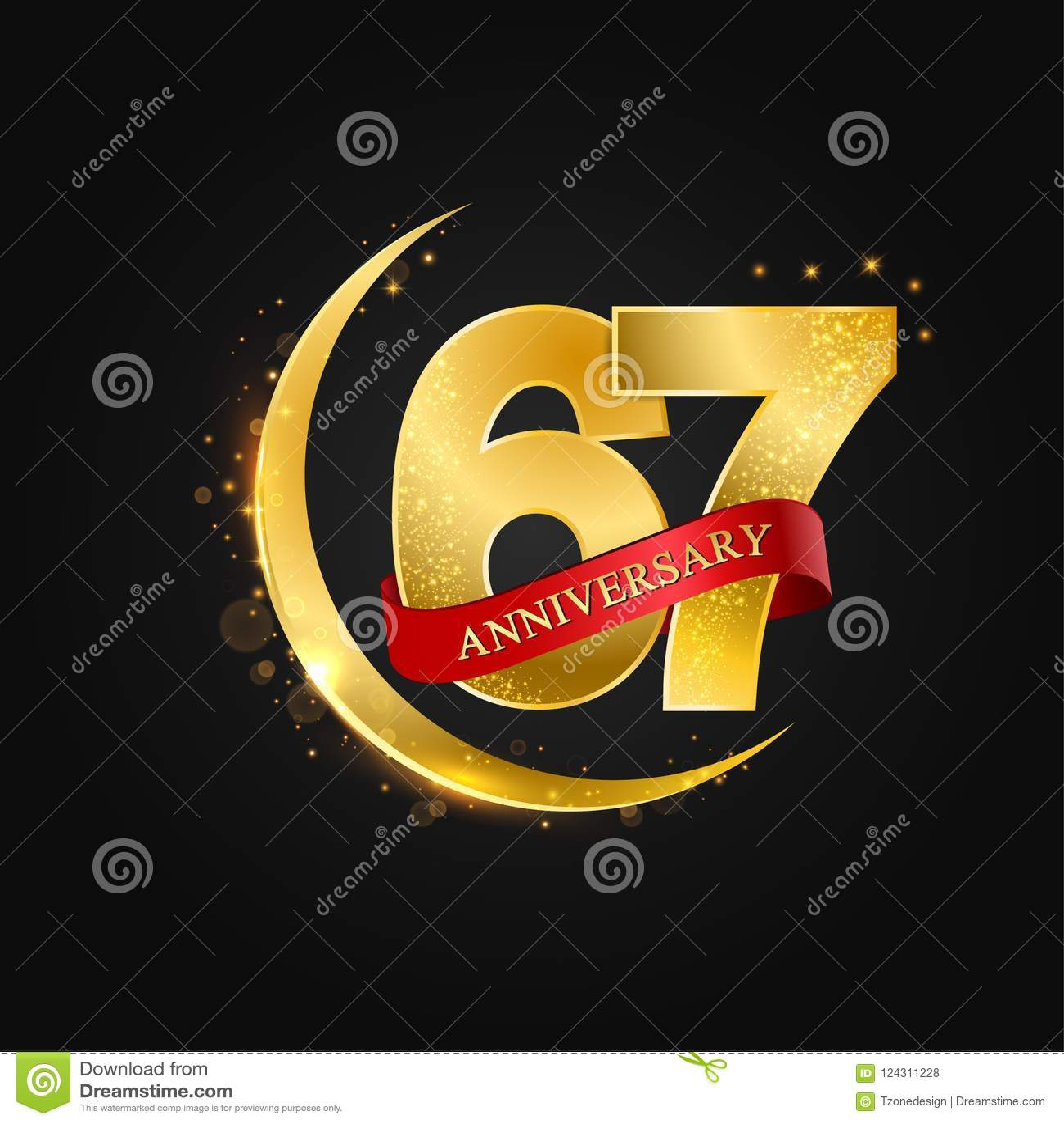 Eid Al Adha 67 Years Anniversaryttern With Arabic Golden Gold