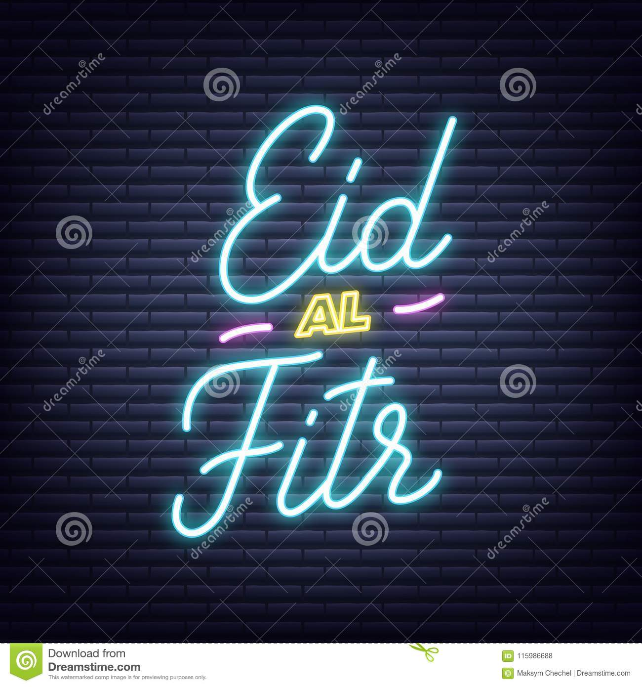 Eid Al Fitr Neon Design Illuminated Typography Signboard For End Of