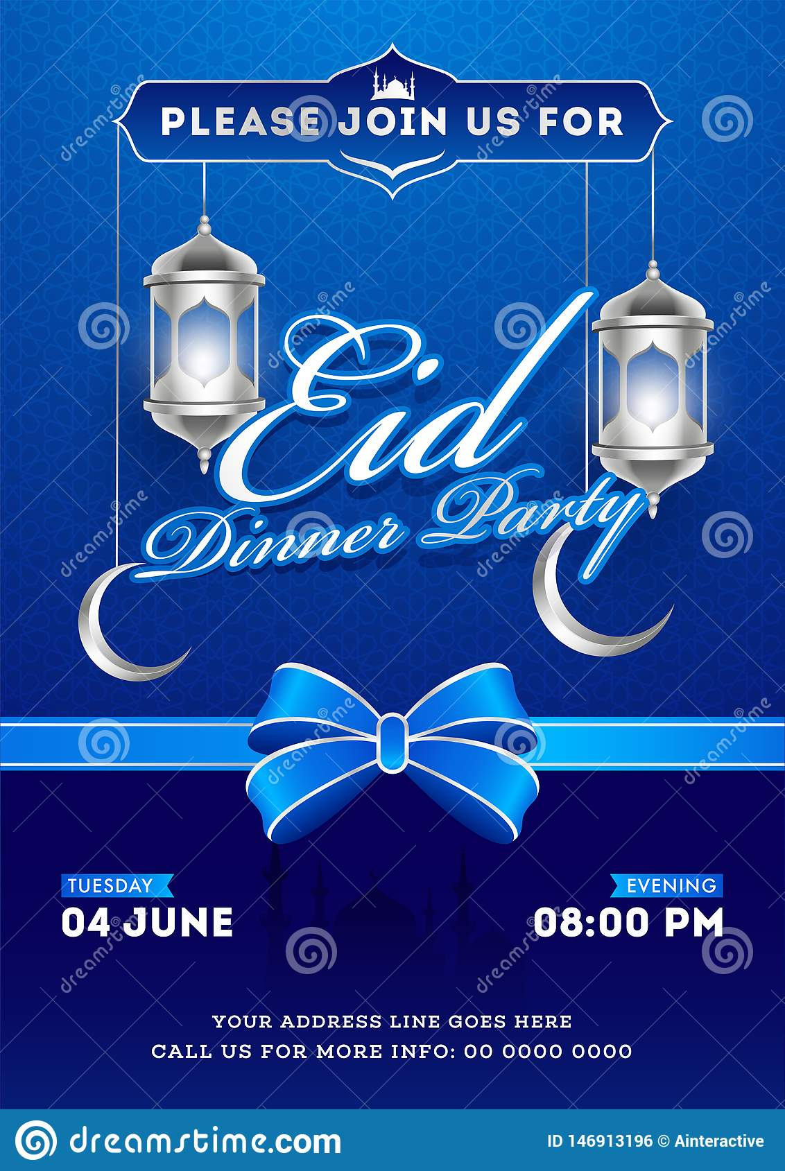Eid Dinner Party Invitation Card Design With Silver Illuminated