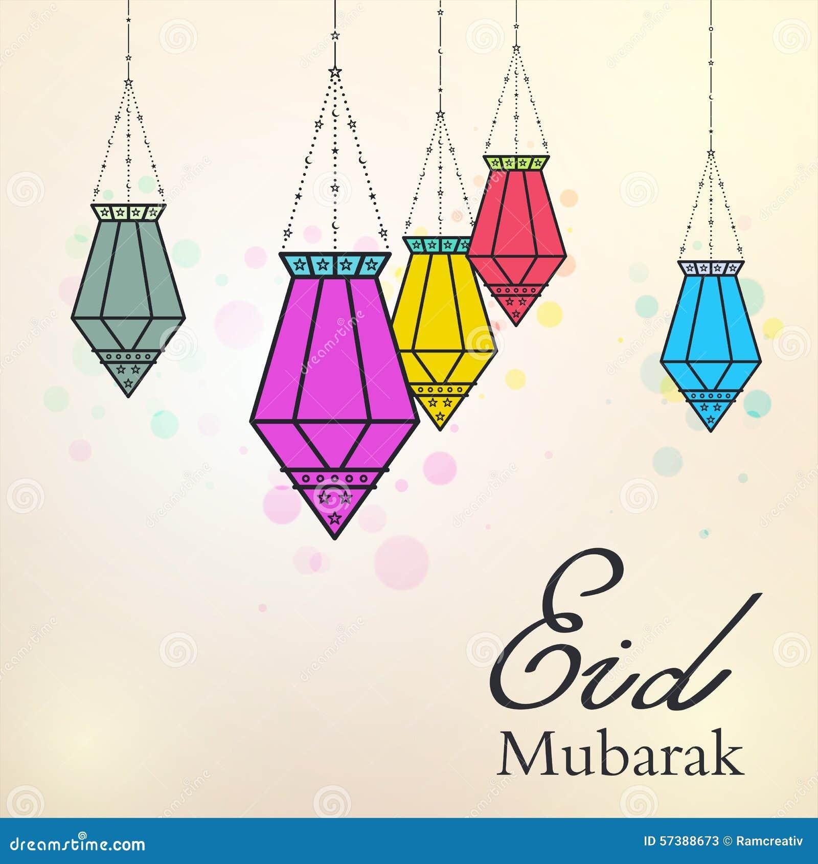 Eid Mubarak-achtergrond met kleurrijke Arabische lampen
