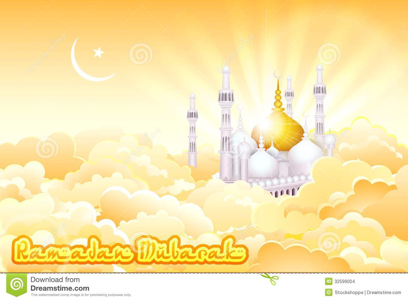 Eid Mubarak Background With Islamic Mosque Stock Images