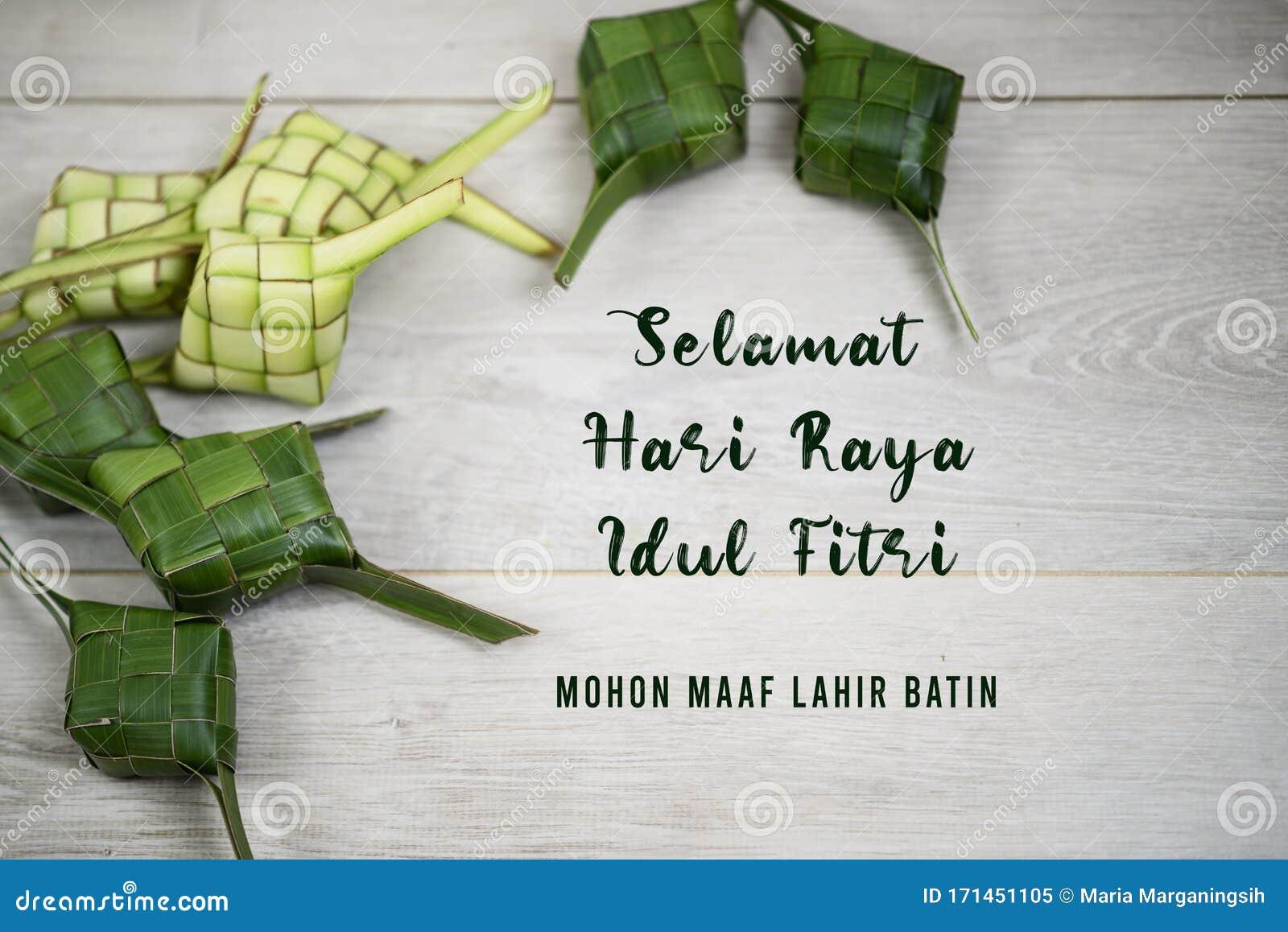 Eid Mubarak Celebration Card In Translate Bahasa Indonesia Malay Language Selamat Hari Raya Idul Fitri Mohon Maaf Lahir Batin Stock Image Image Of Green Fitr 171451105