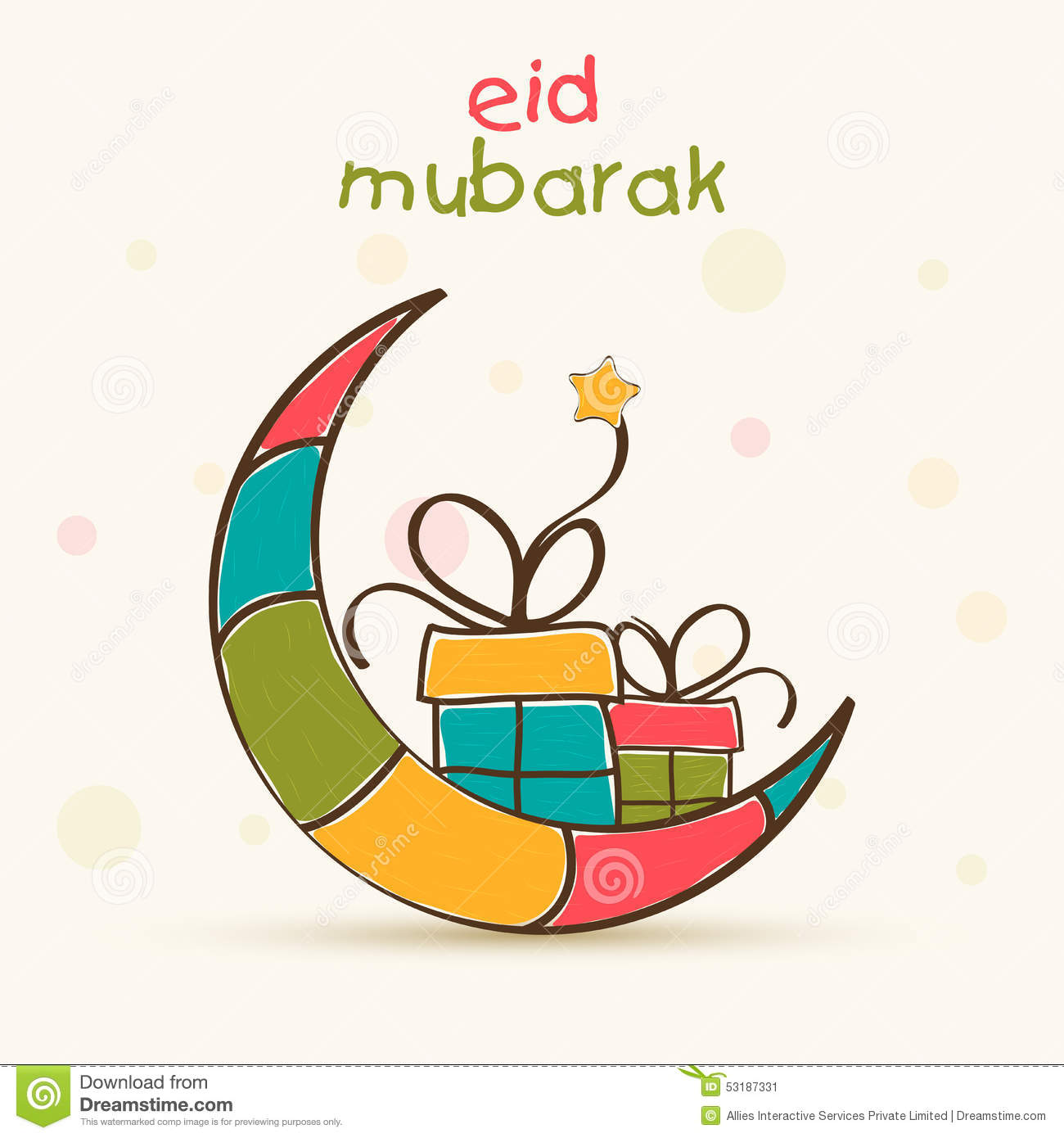 Eid Mubarak Greeting Card Cartoon Vector  CartoonDealer