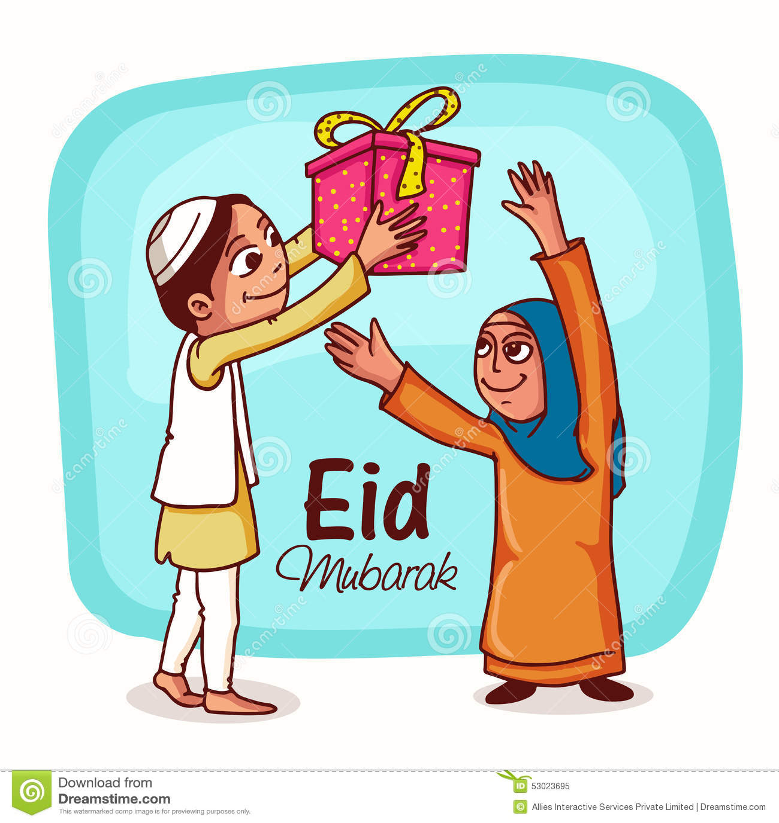Eid Mubarak Celebration With Happy Islamic People. Stock ...