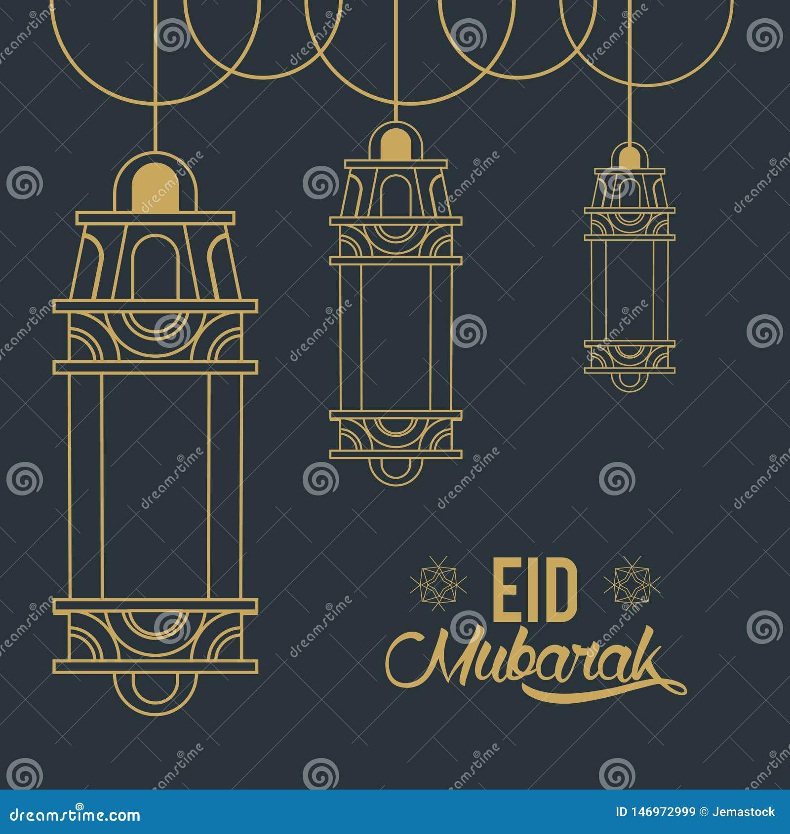 Eid mubarak design med islamiska lampor