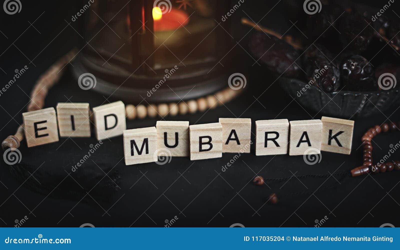 Eid Mubarak Greeting Scrabble Letters Ramadan Candle Lantern Wi