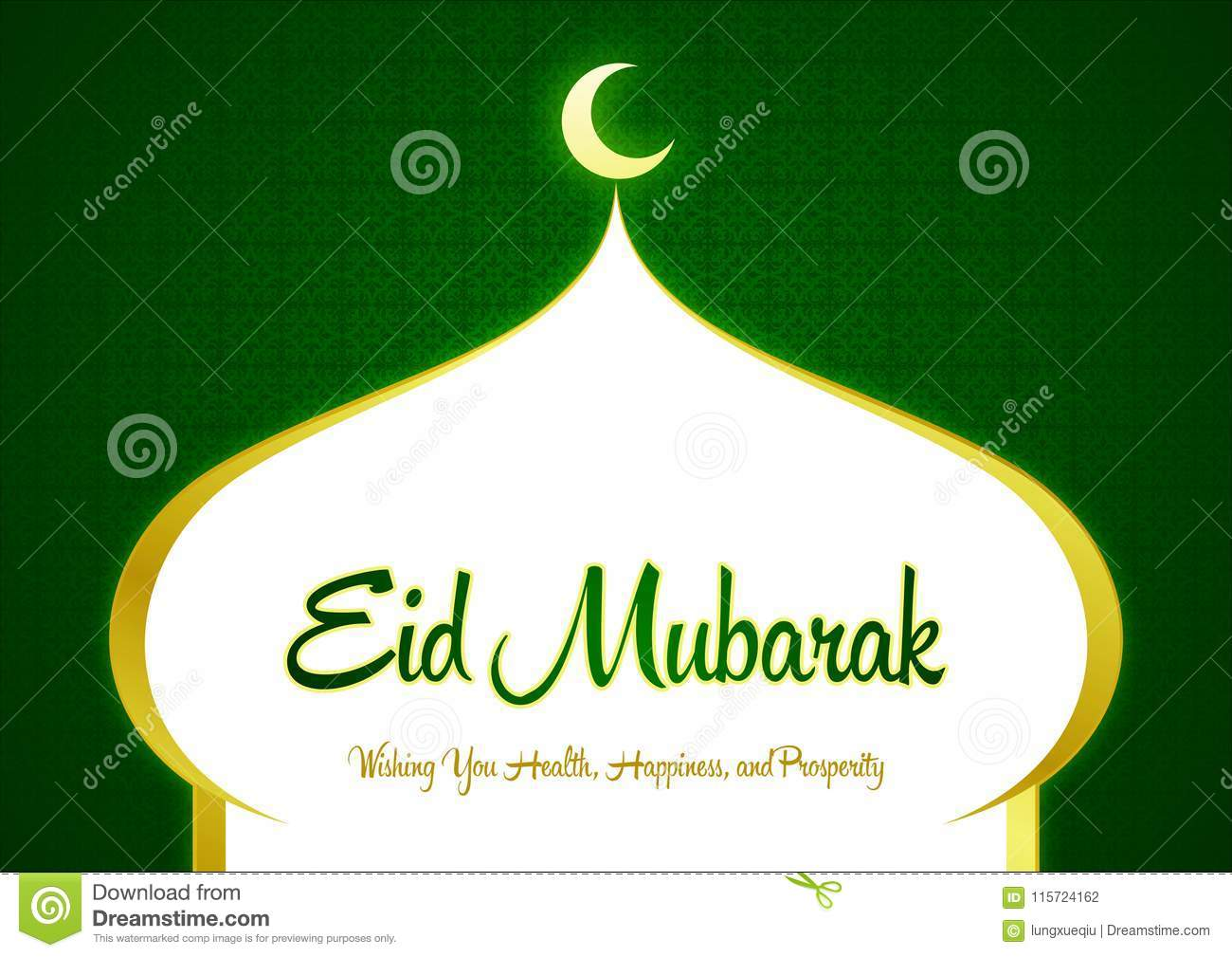 Eid Mubarak Ramadan Green Greeting Card Wishes Illustration Islamic Celebration And With