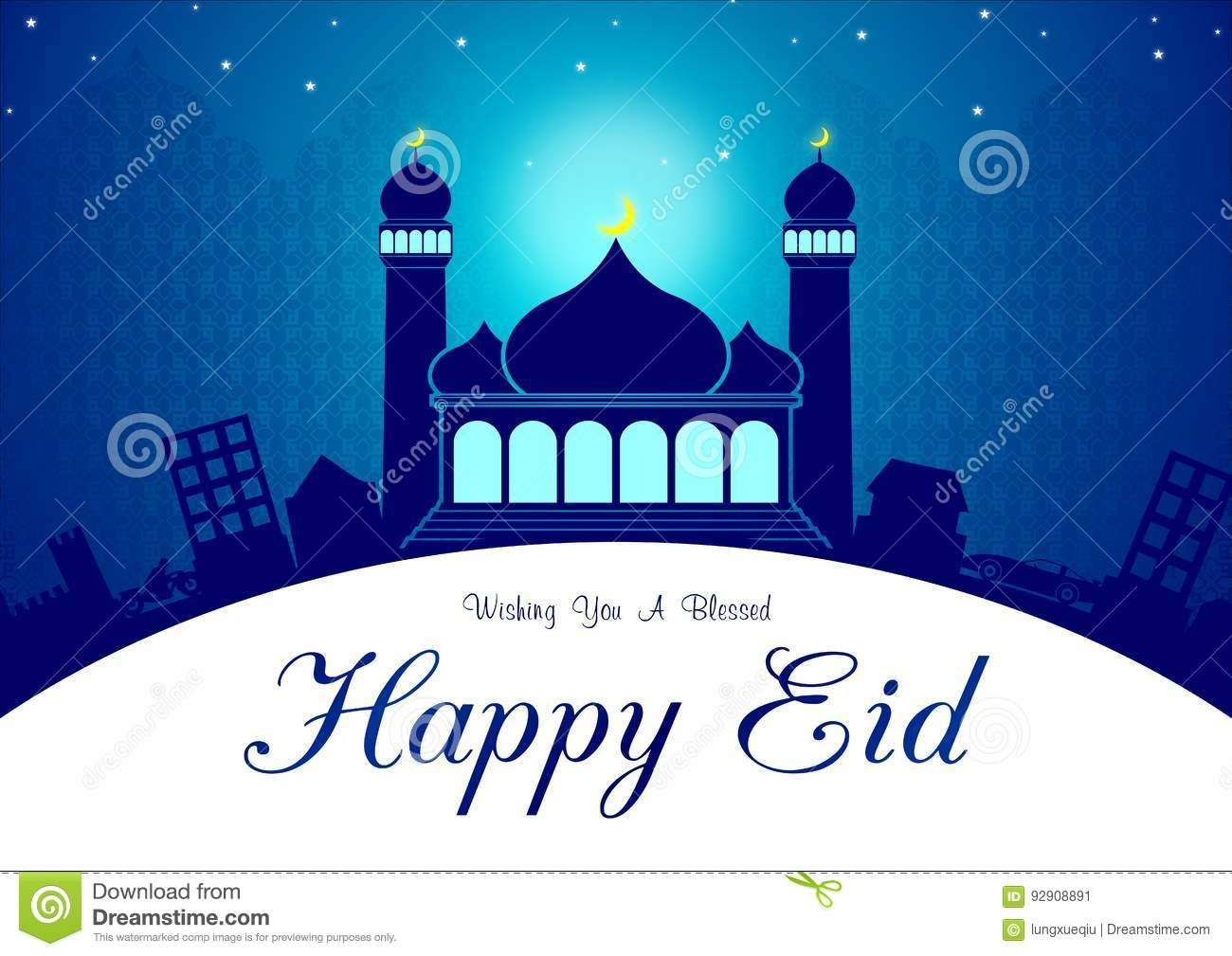 Eid And Ramadhan Blue Greeting Card Illustration Ready To Use Stock