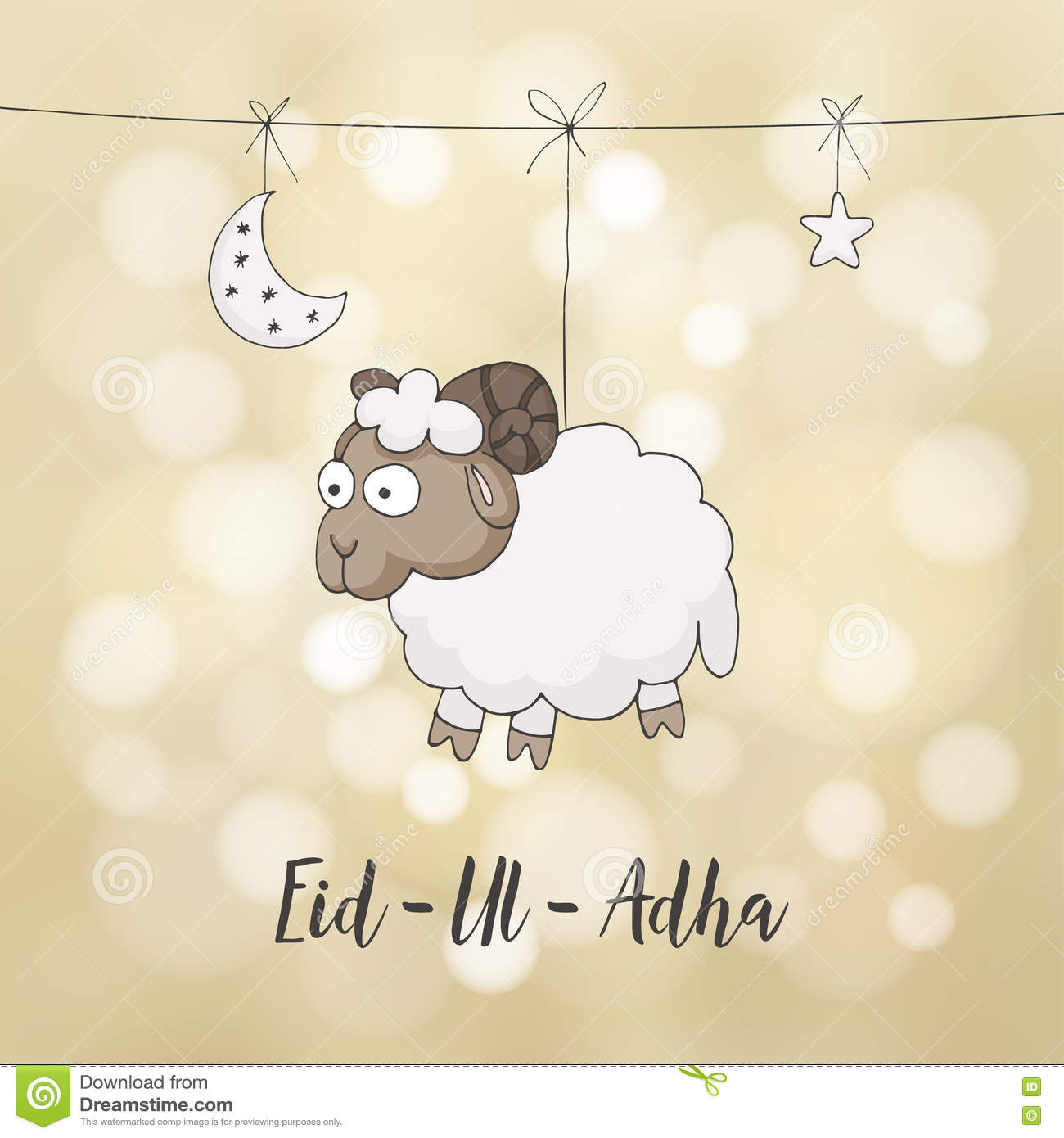 Eid Ul Adha Greeting Card Decoration With Hand Drawn Sheep Moon