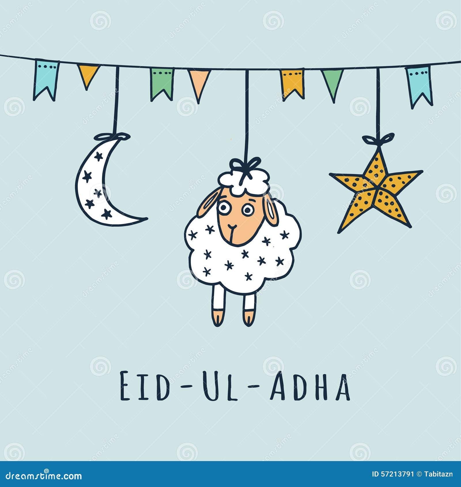 Eid ul adha greeting card with sheep moon star stock vector eid ul adha greeting card with sheep moon star m4hsunfo