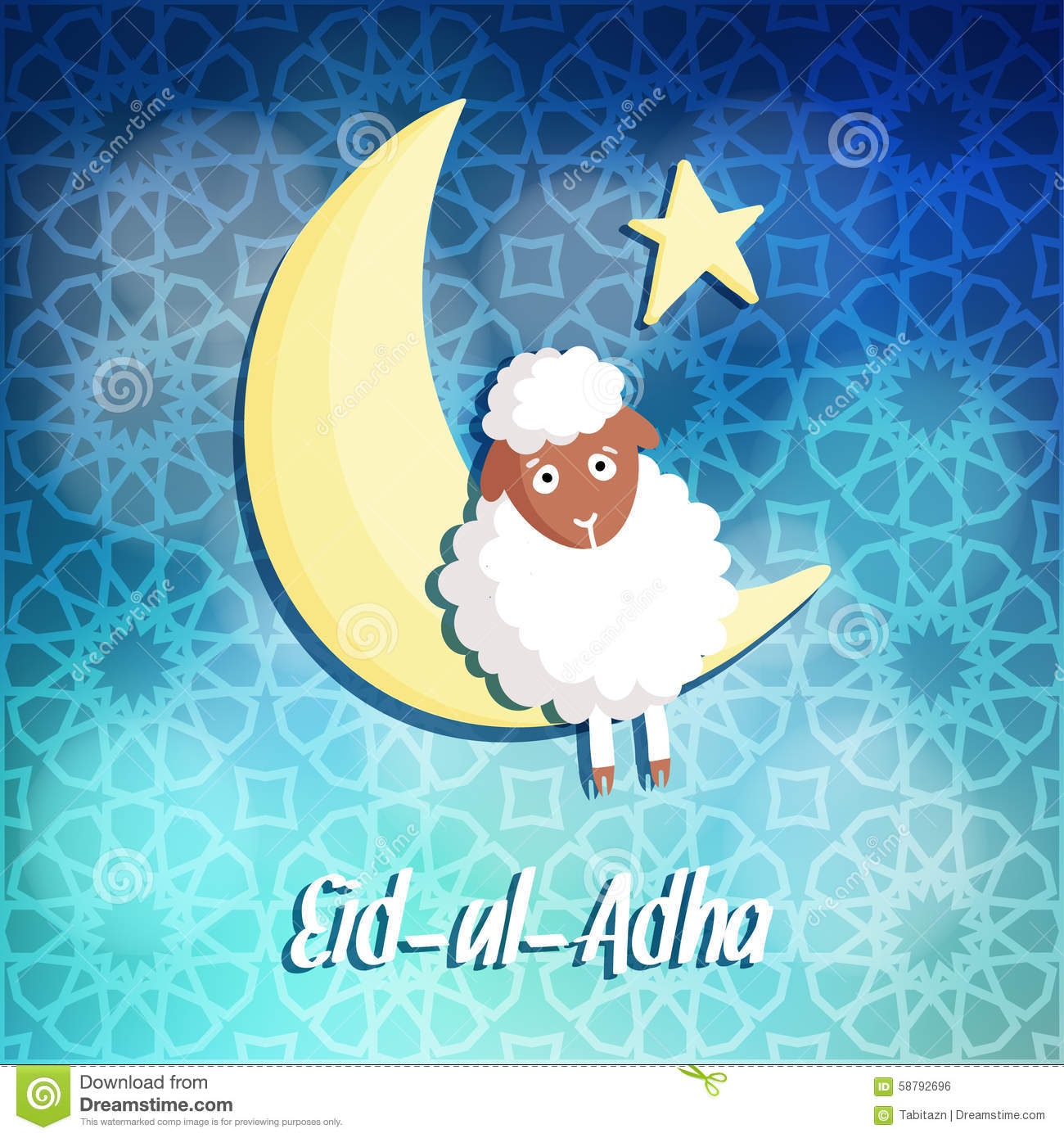 Eid Ul Adha Greeting Card With Sheep Moon Star Stock Vector