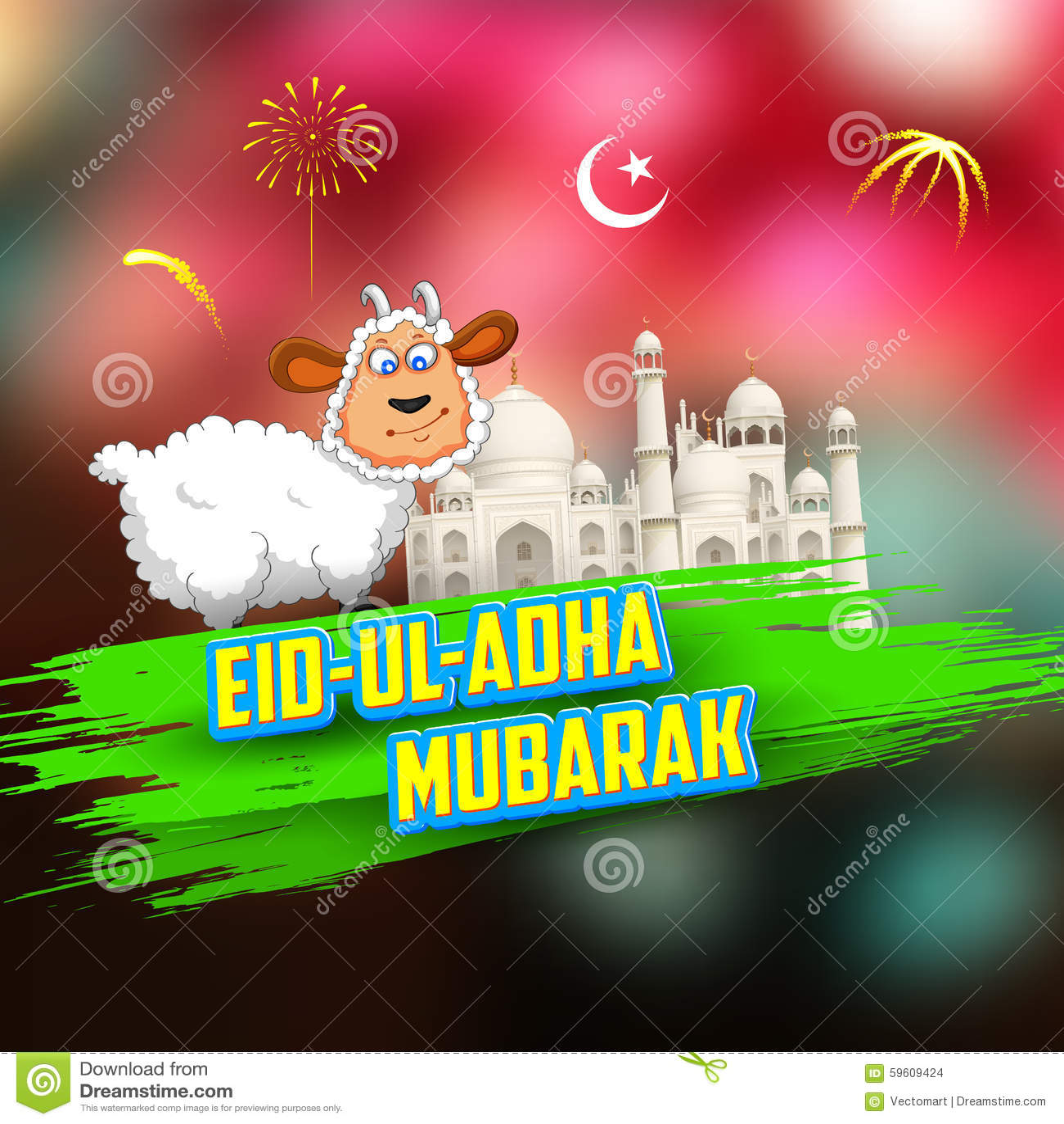 Eid Ul Adha Happy Bakra Id Background Stock Vector Illustration