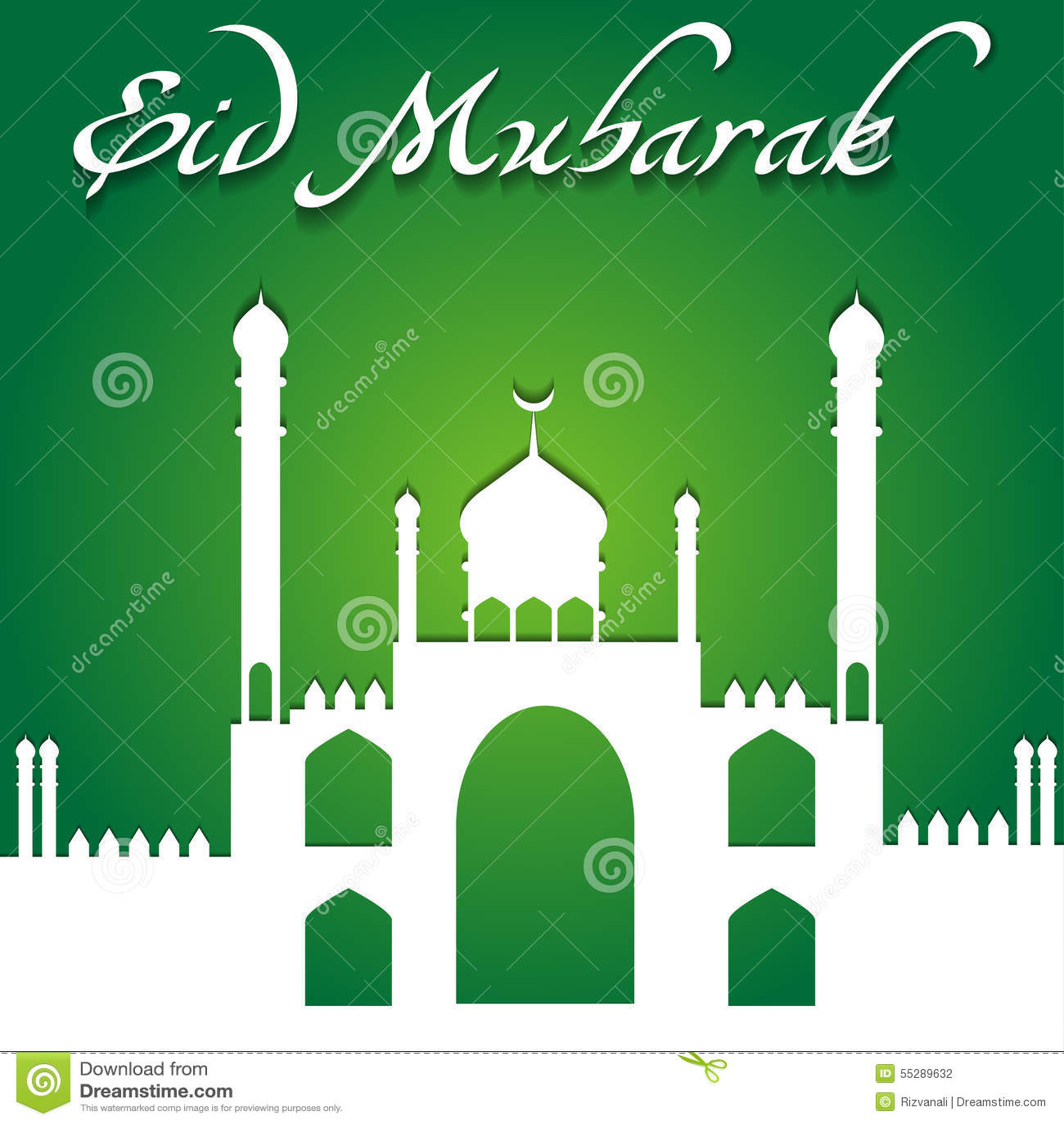 Eid Ul Fitr Greeting Card Stock Vector Illustration Of Islam 55289632