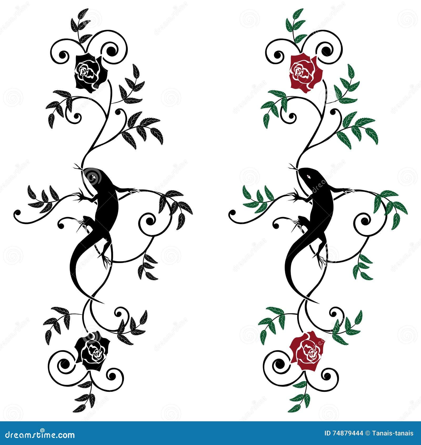 Eidechse und Rose, Satz