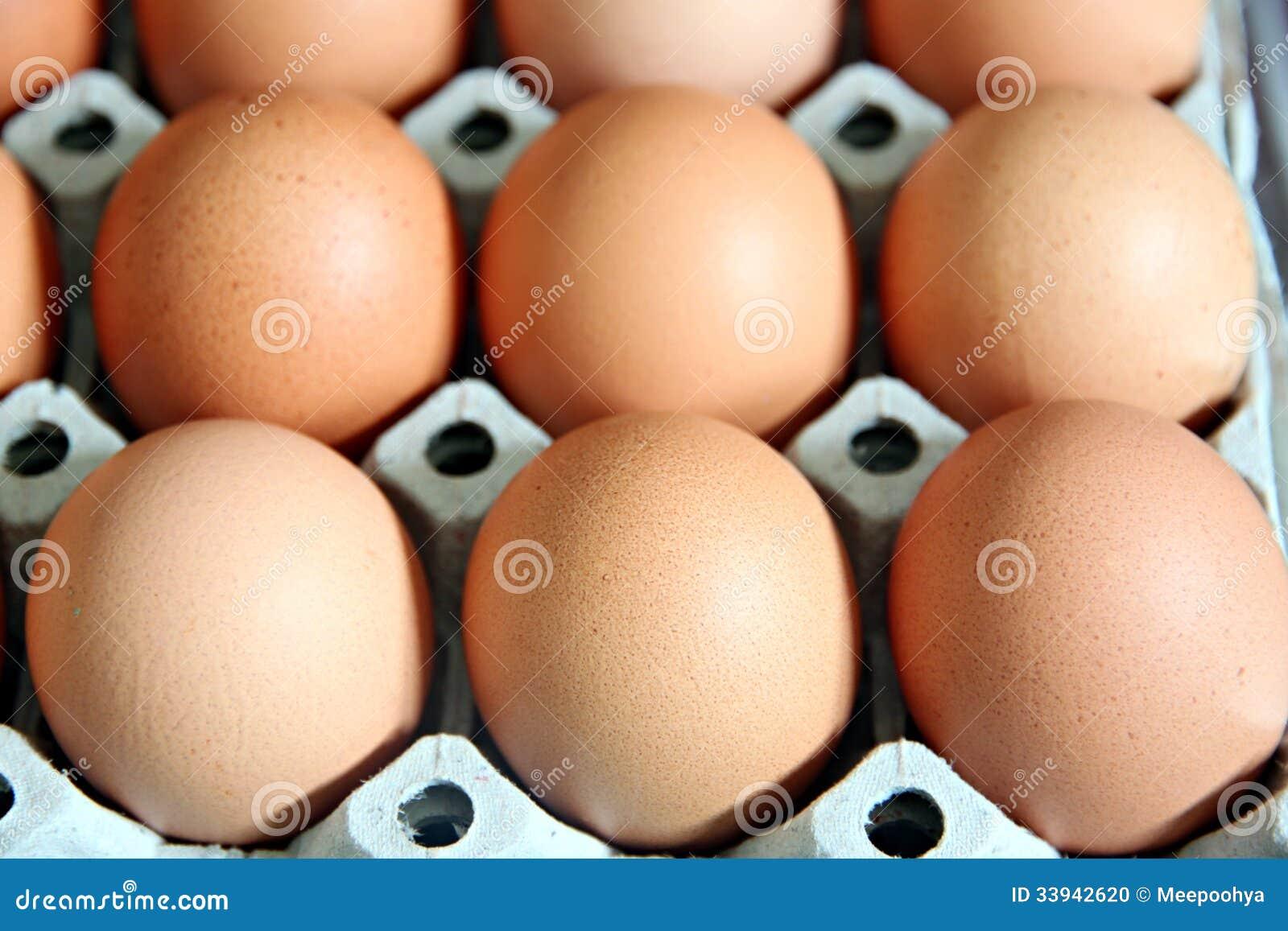 Eier, die in der Platte sind.