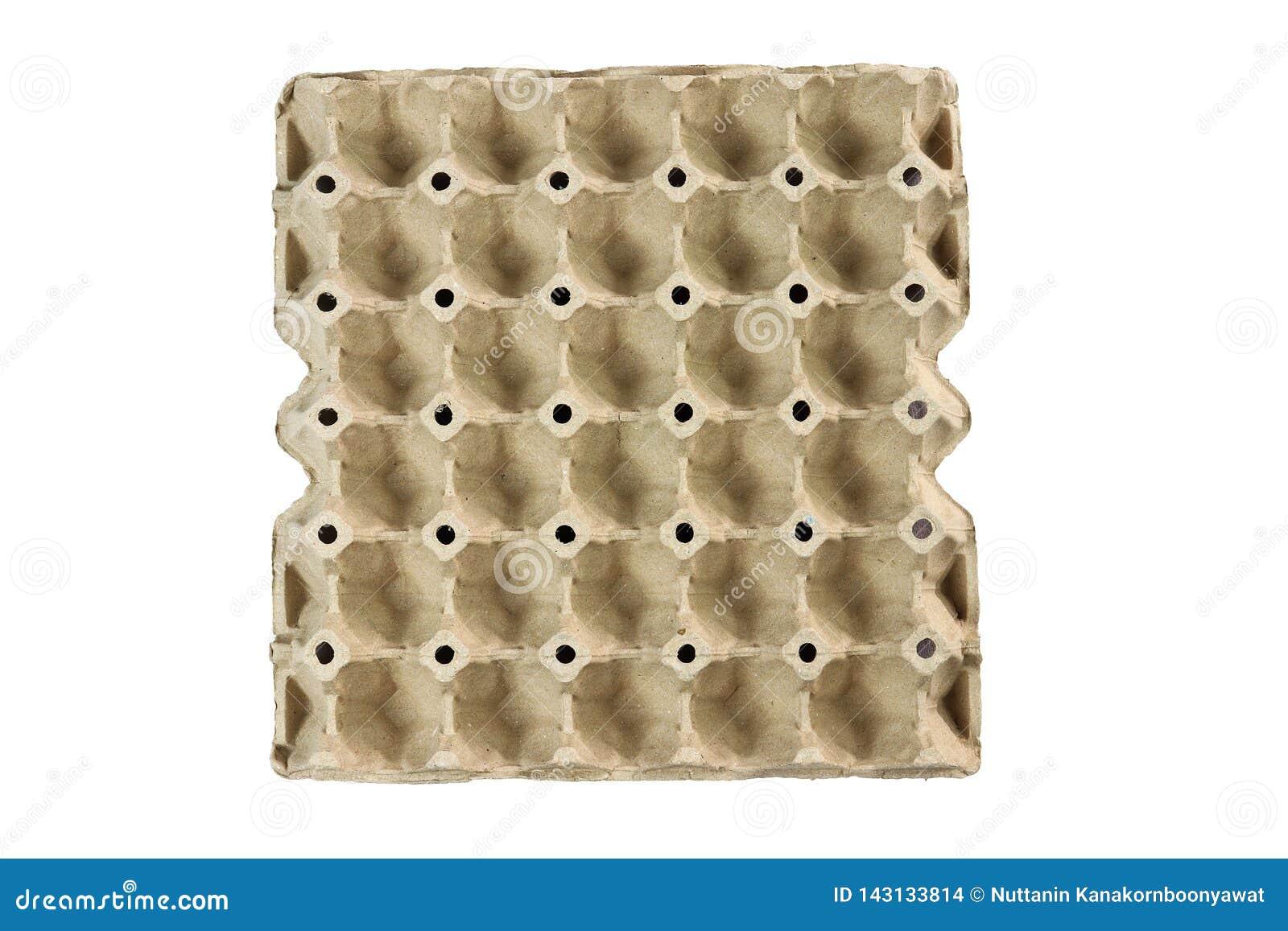 Eierablage, Stapelpappe, die f?r die Eier lokalisiert auf schwarzem Hintergrund verpackt