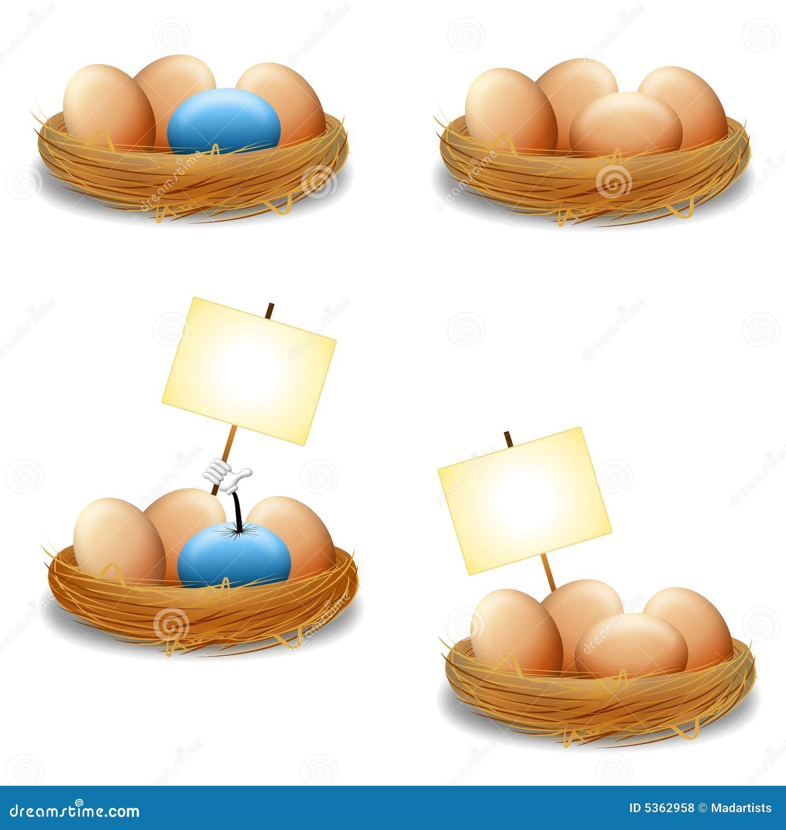 Eieren in Nest met Tekens