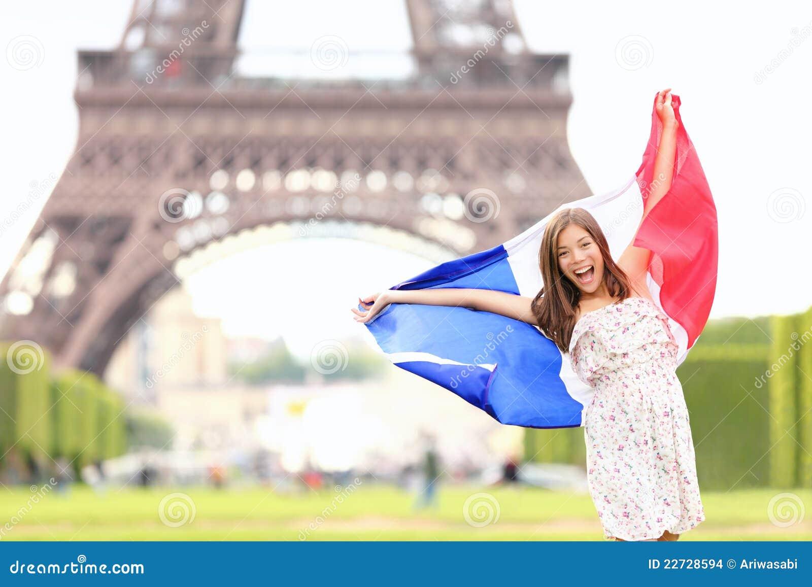 Eiffel kobieta chorągwiana francuska basztowa France Paris