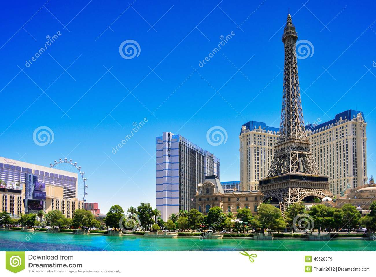eiffel in las vegas strip in summer day editorial stock image image 49628379. Black Bedroom Furniture Sets. Home Design Ideas