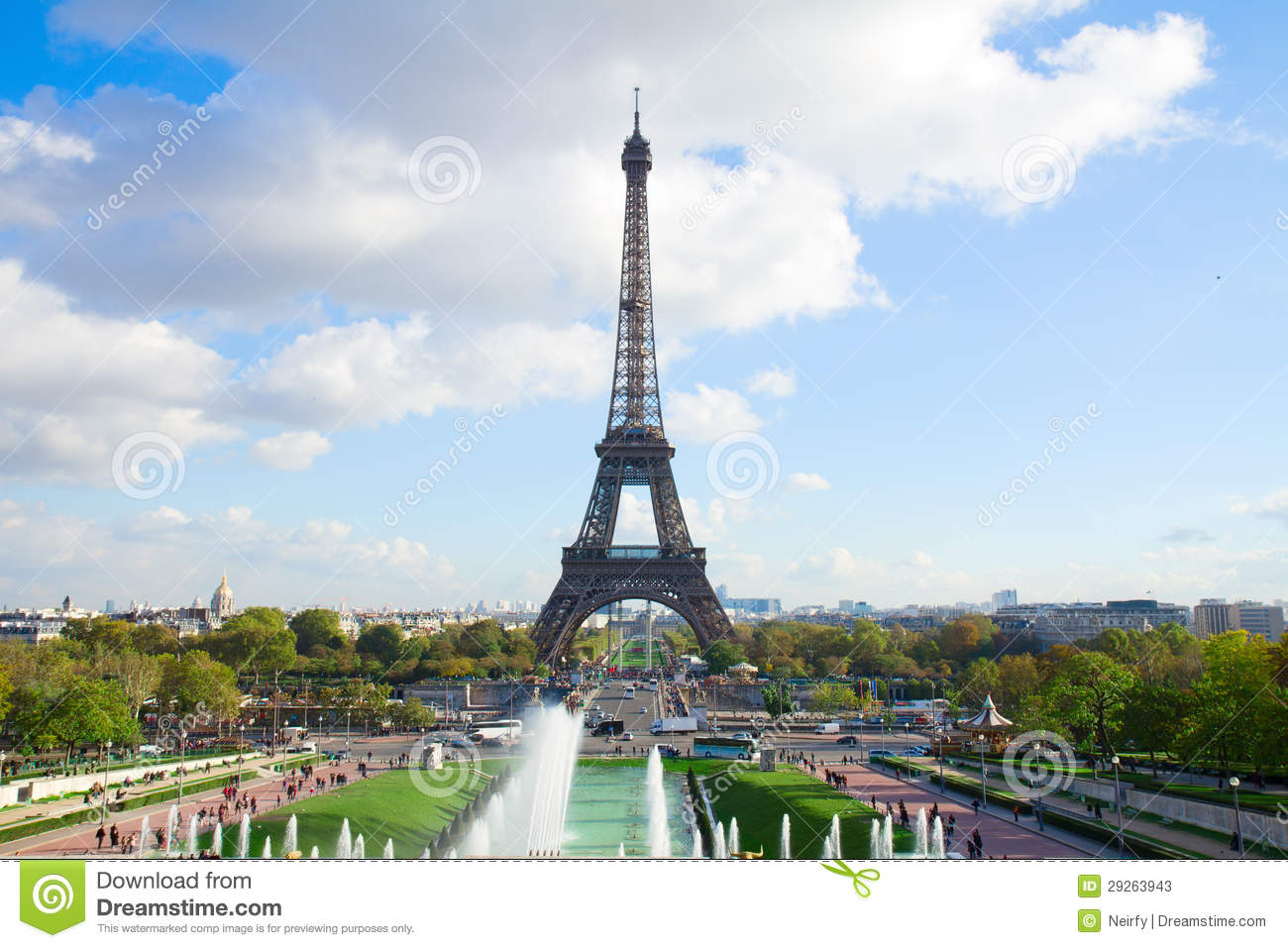 Download Eiffel Tour And Fountains Of Trocadero Stock Image - Image of scenic, blue: 29263943