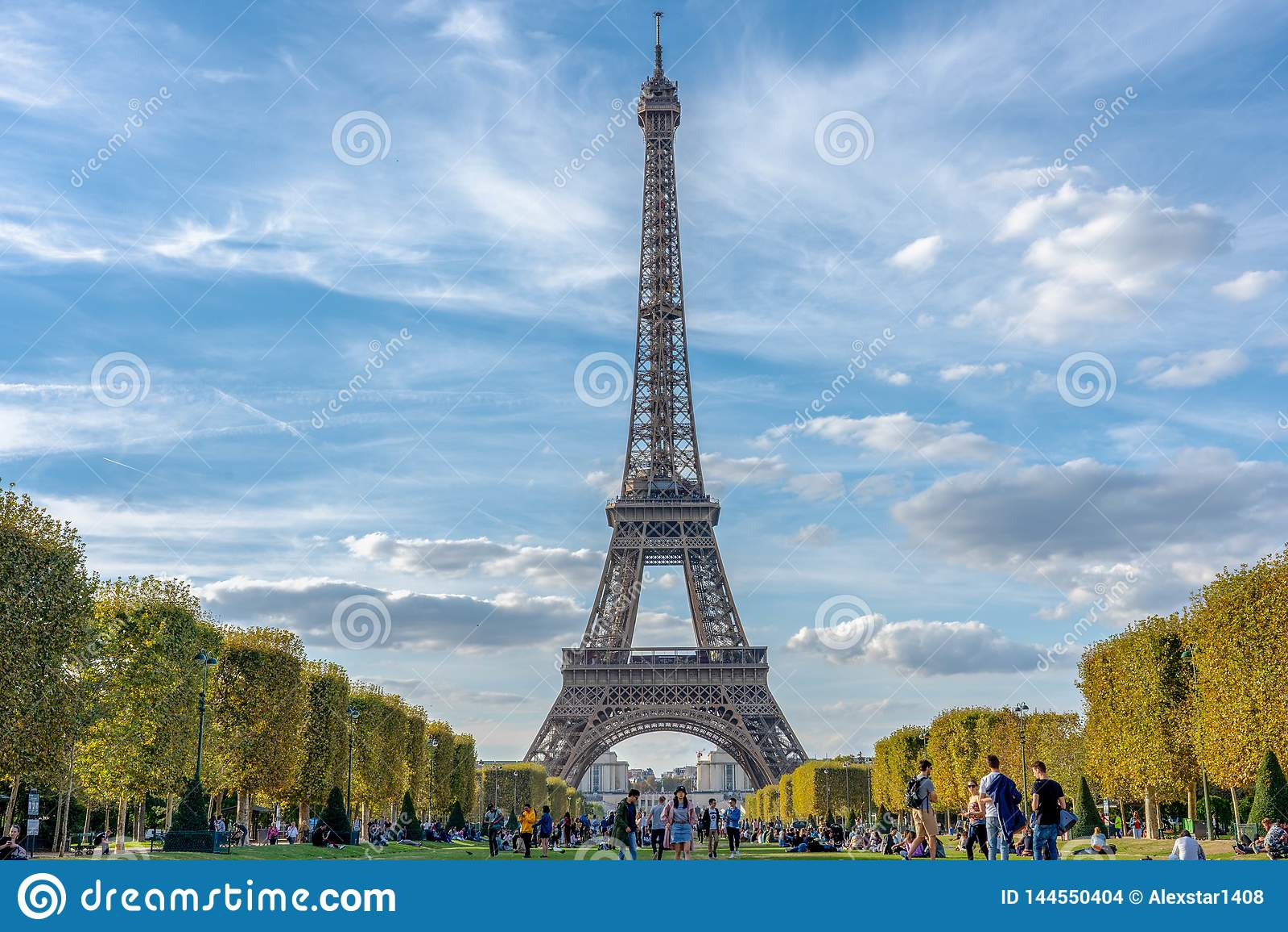 Eiffel Tower paris france cloudy sky