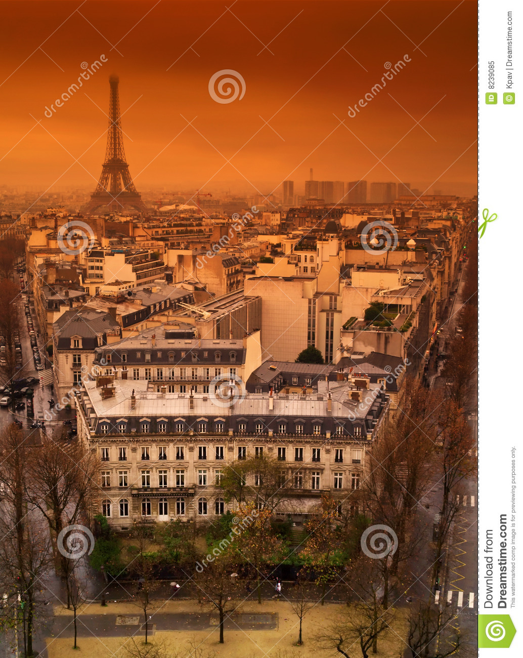 Paris rooftops with Eiffel tower.