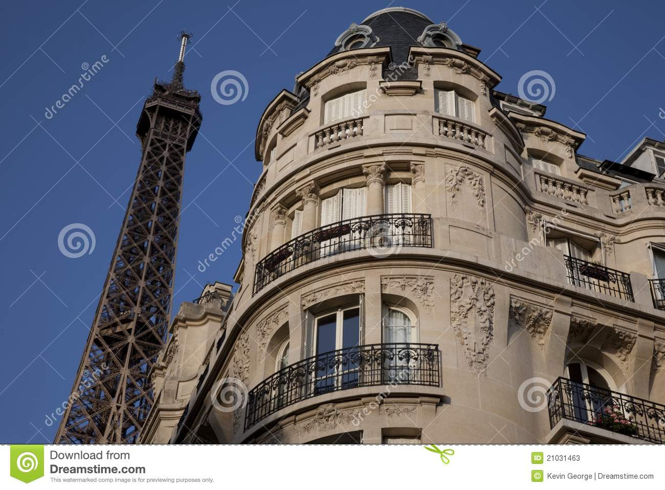 Eiffel tower and apartment building paris stock image for Apartment in the eiffel tower